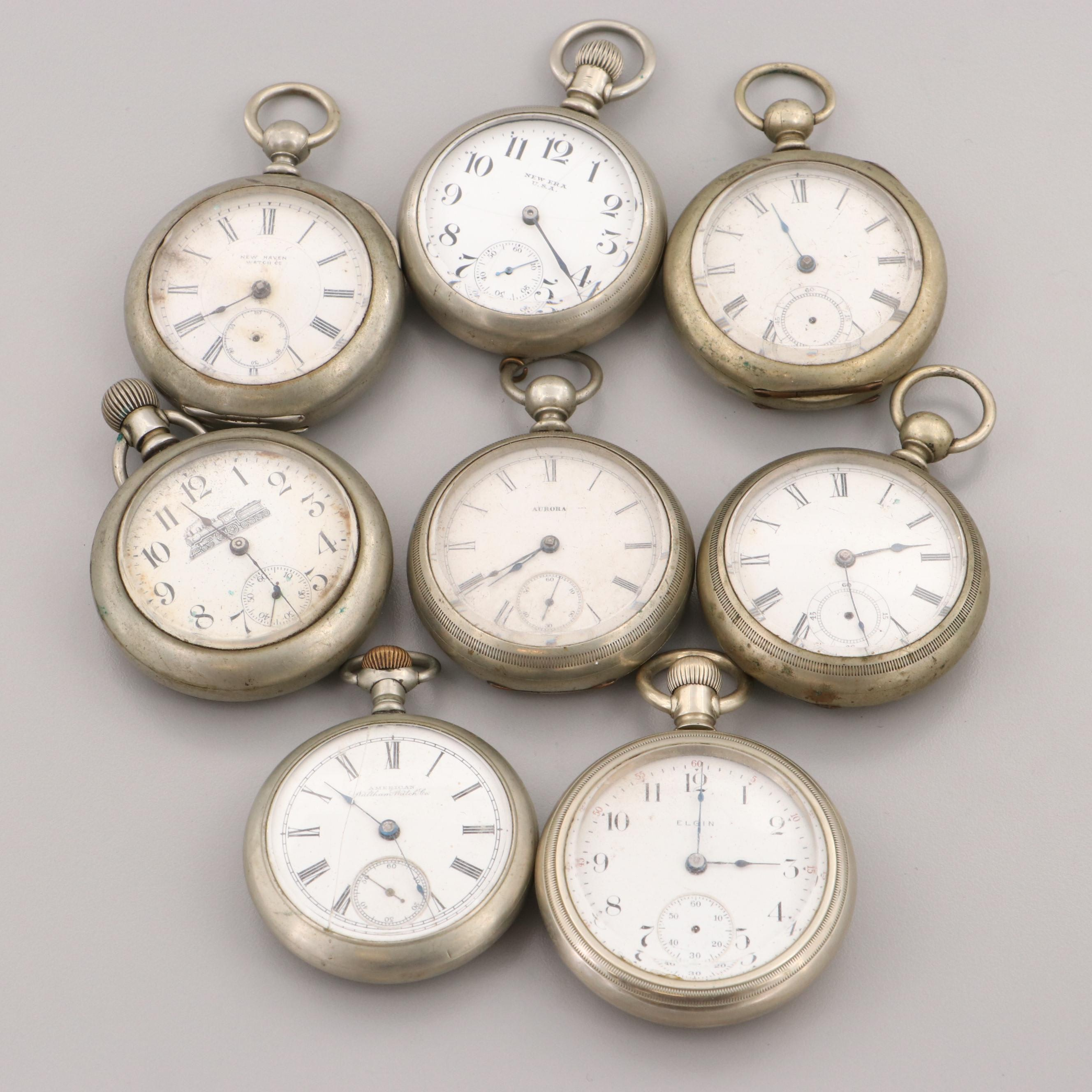 Assortment of Nickel Open Face Pocket Watches Featuring New Haven and Elgin
