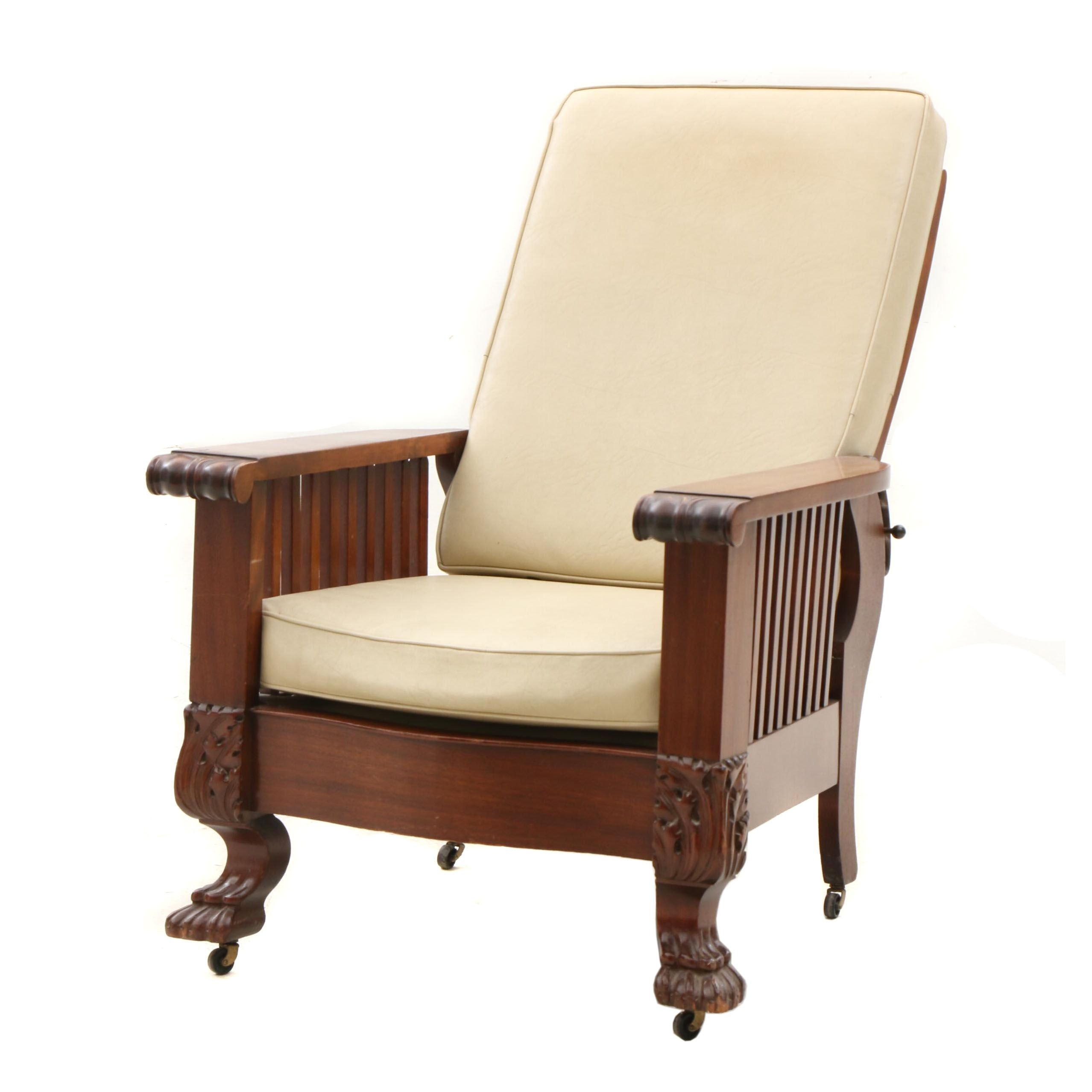 Colonial Revival Walnut Morris Leather Upholstered Arm Chair, Late 19th Century