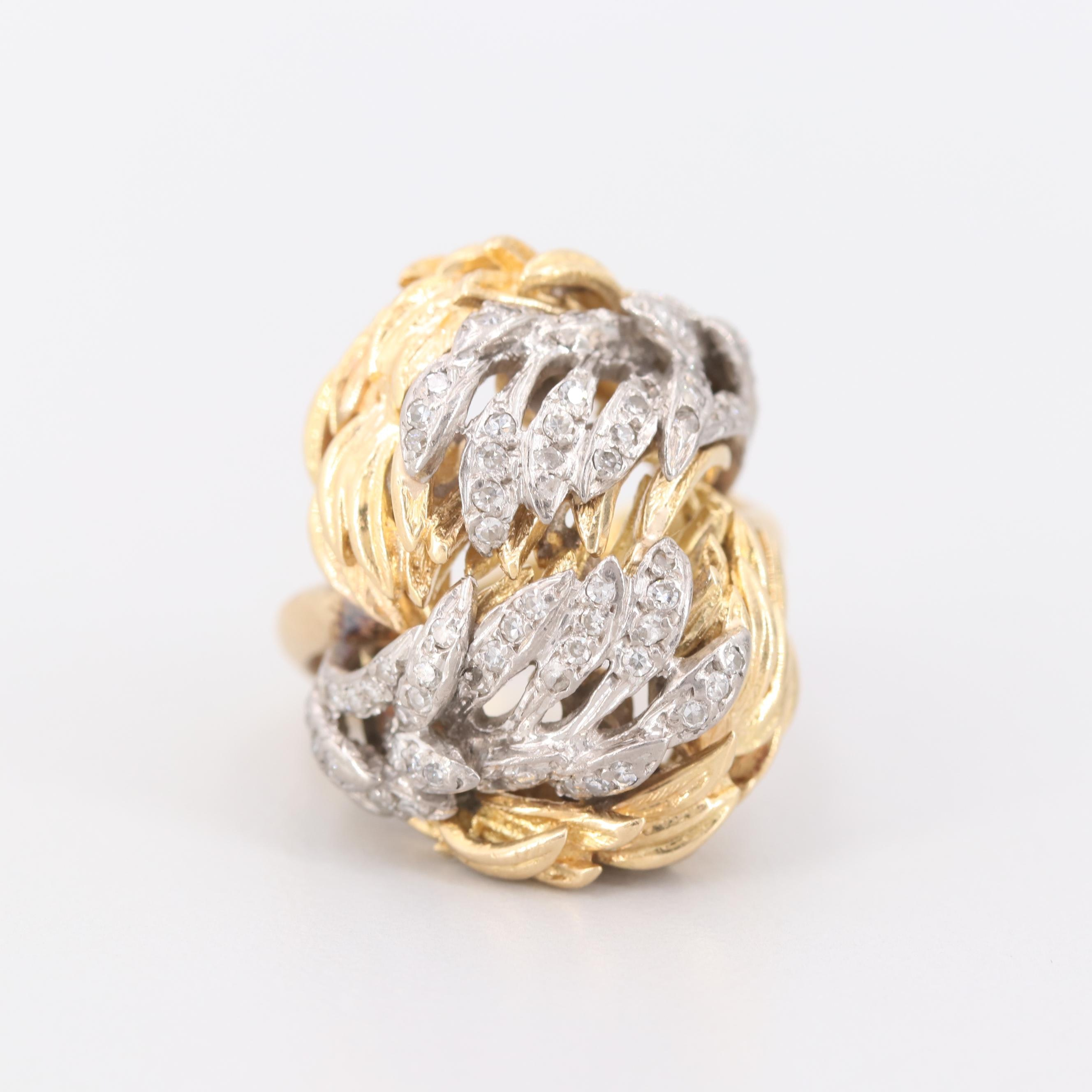 Vintage Rudi Cherny 18K Yellow and White Gold Diamond Ring