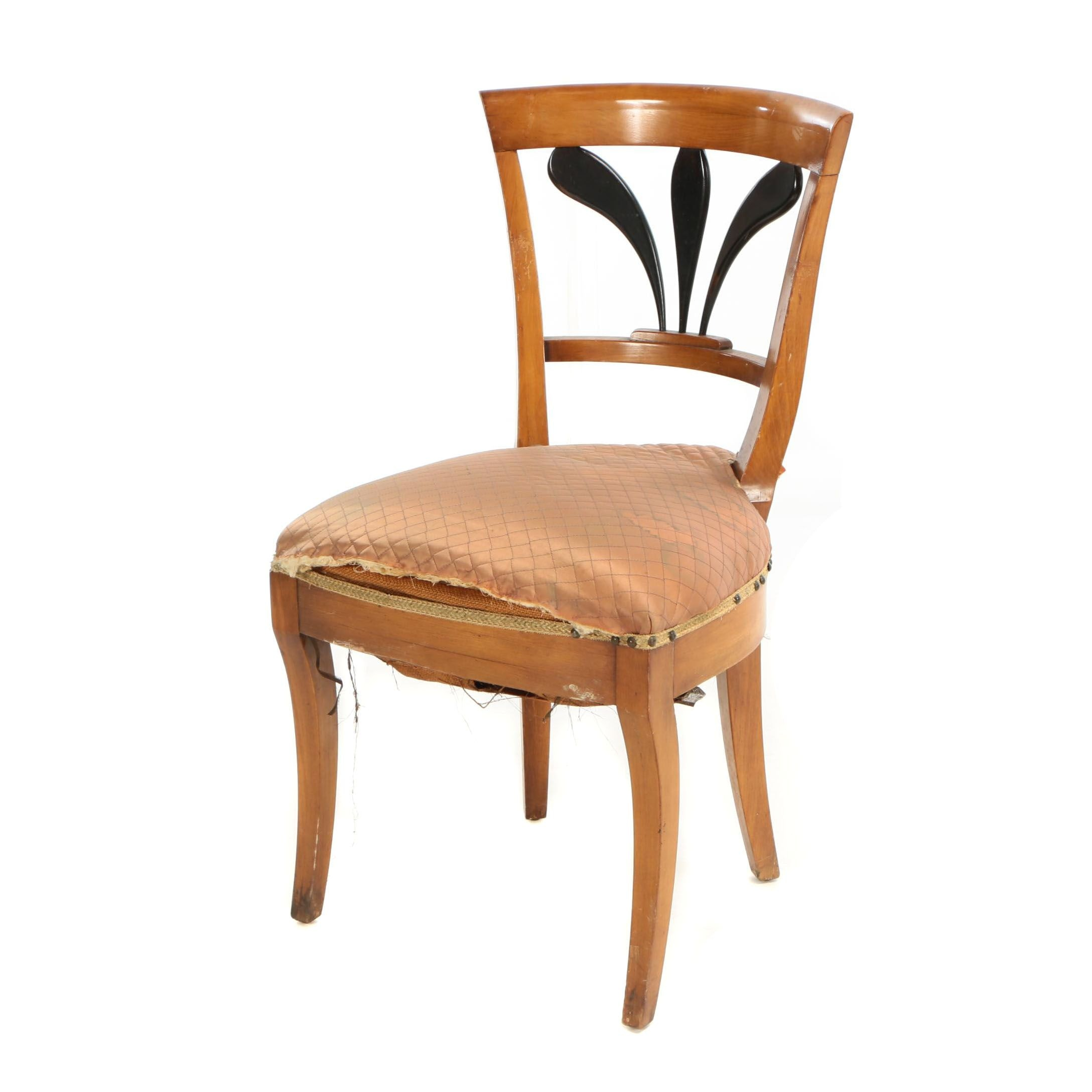 Biedermeier Fruitwood and Parcel-Ebonized Side Chair, Mid 19th Century