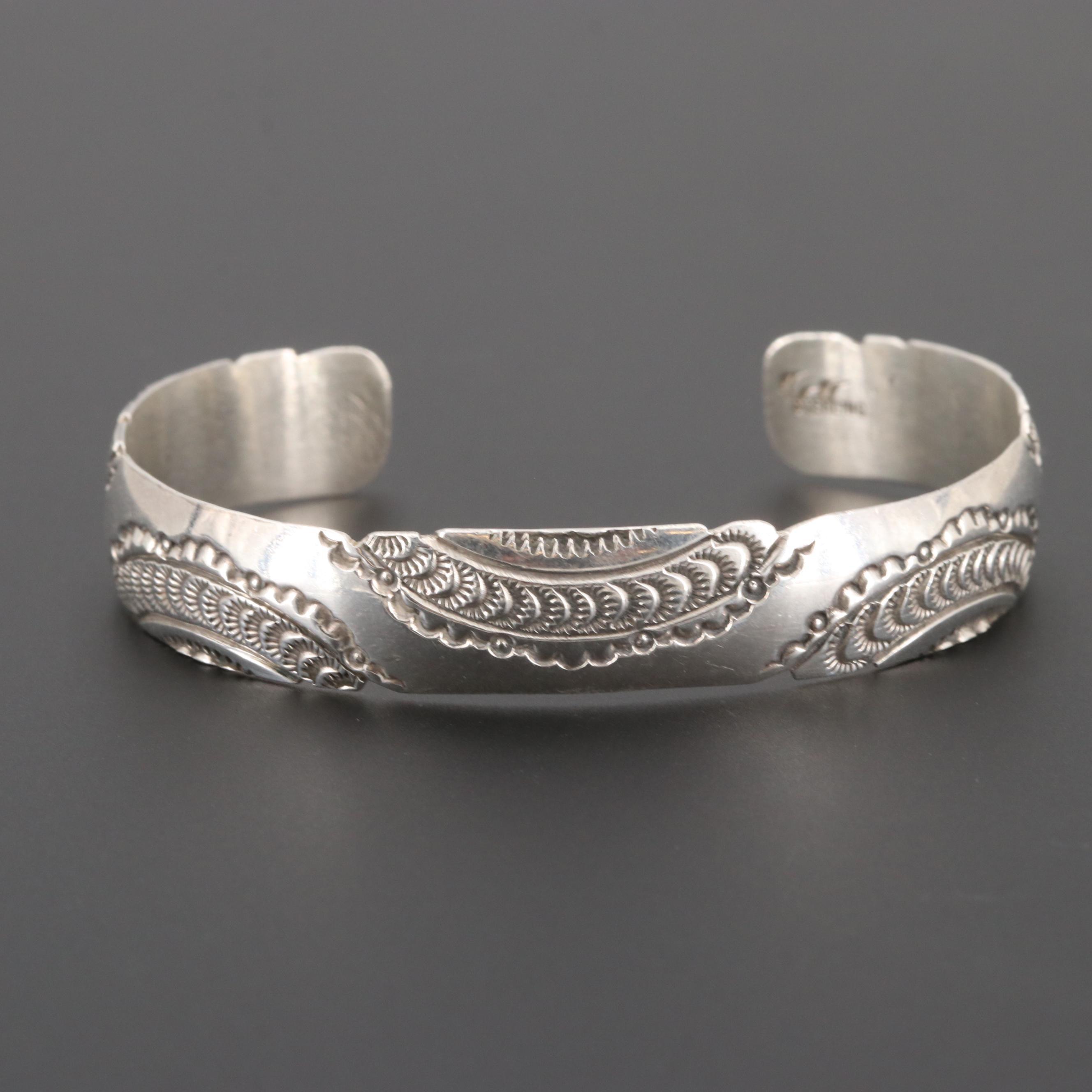 Sterling Silver Embossed Cuff Bracelet