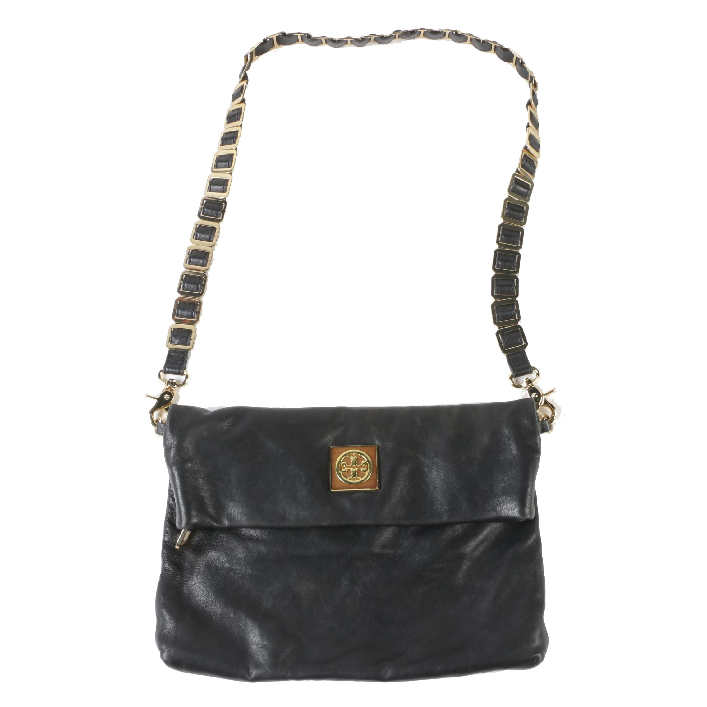 Tory Burch Black Leather Foldover Hobo Bag