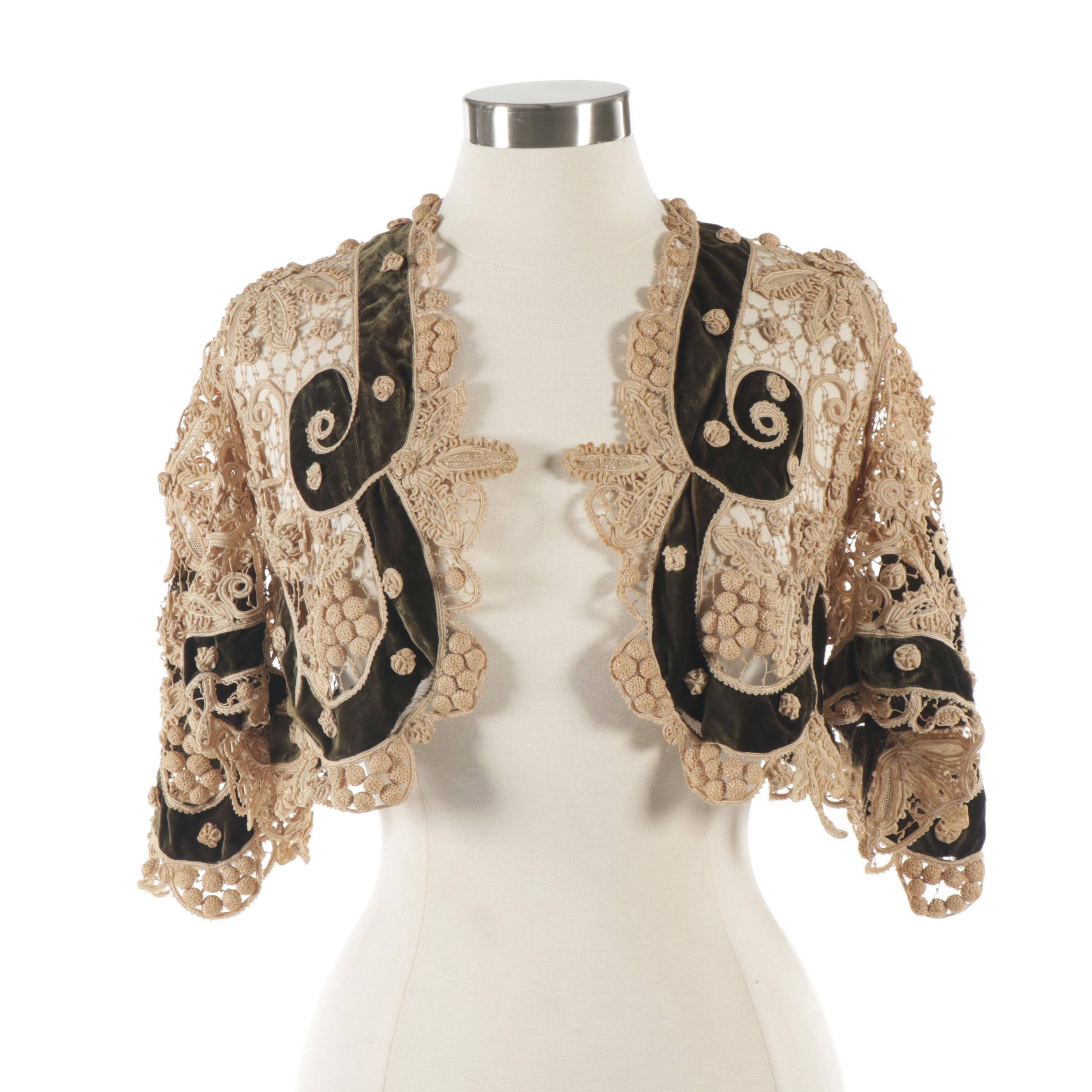 Women's Silk Hand Tatted Lace and Velvet Jacket, Early 20th Century