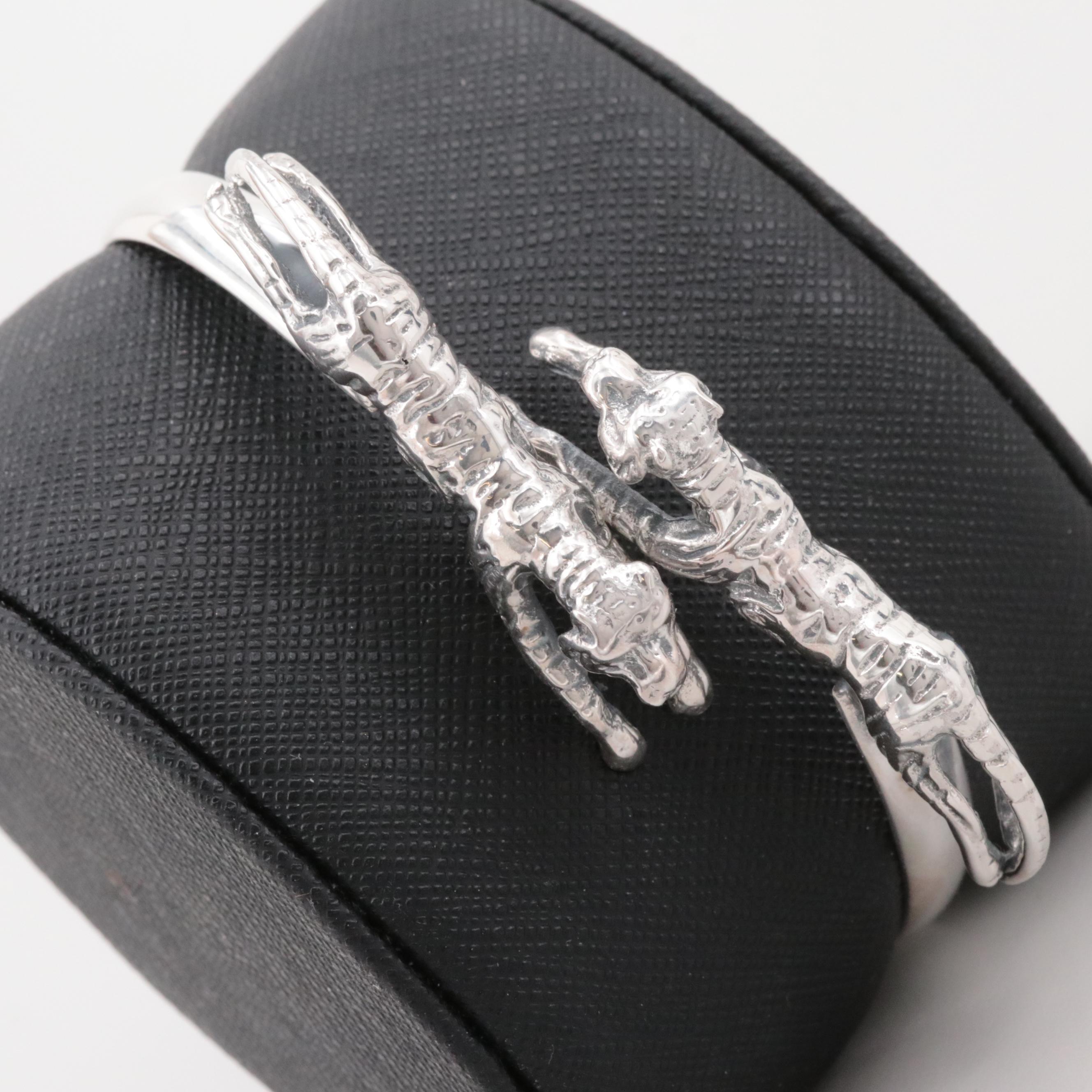 Sterling Silver Double Tiger Bangle Bracelet