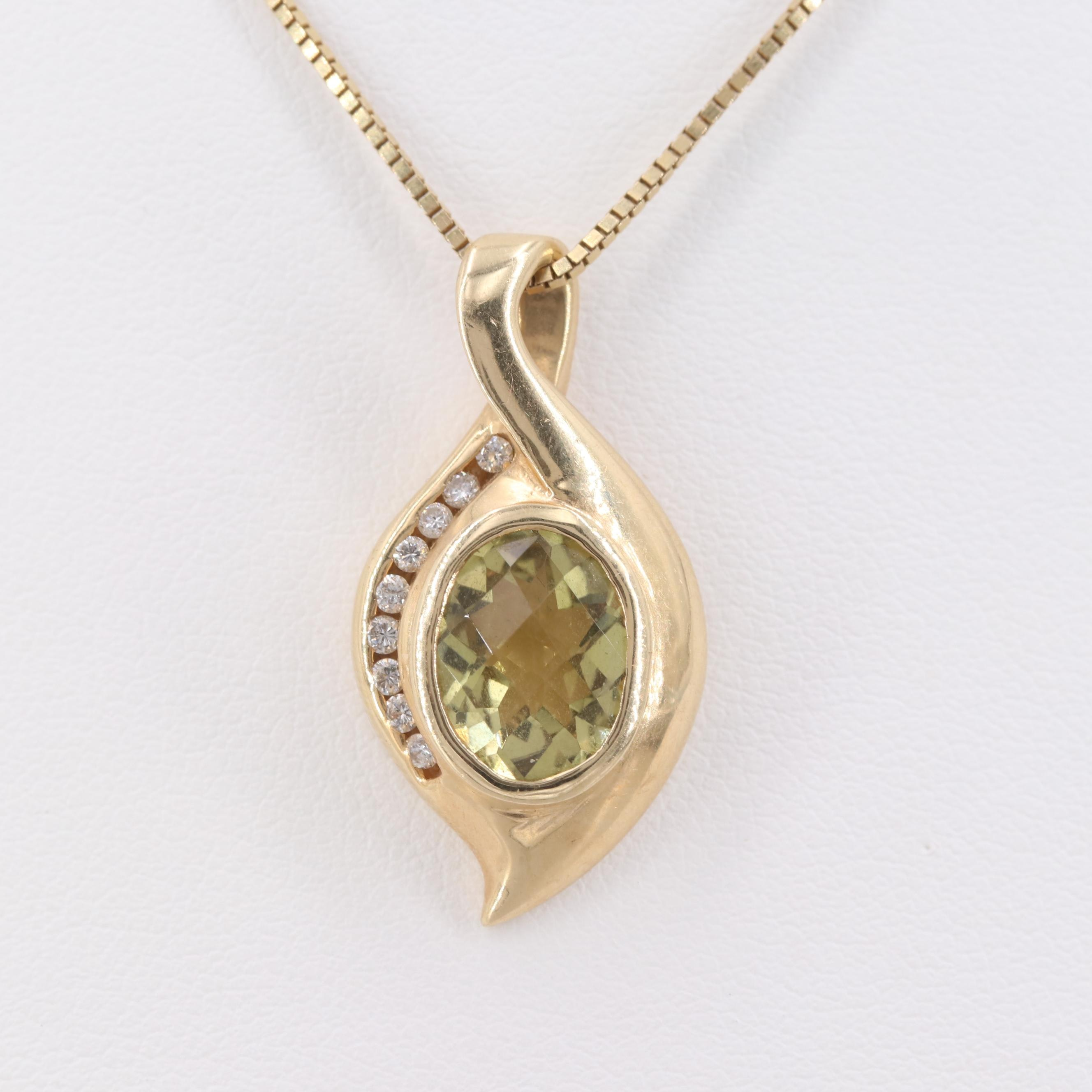 14K Yellow Gold Citrine and Diamond Slide Pendant Necklace