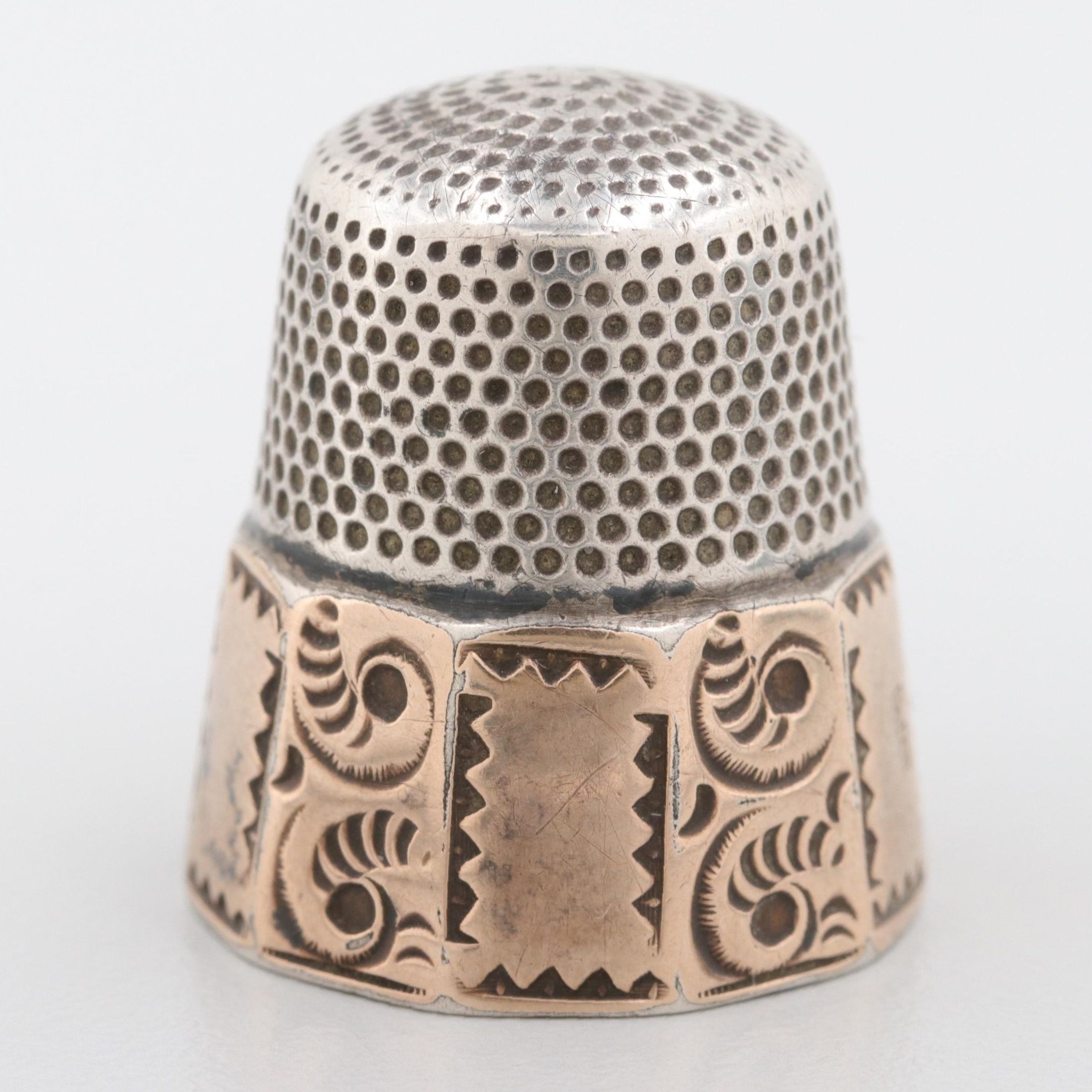 Sterling Silver Thimble with Rose Gold Wash Accents