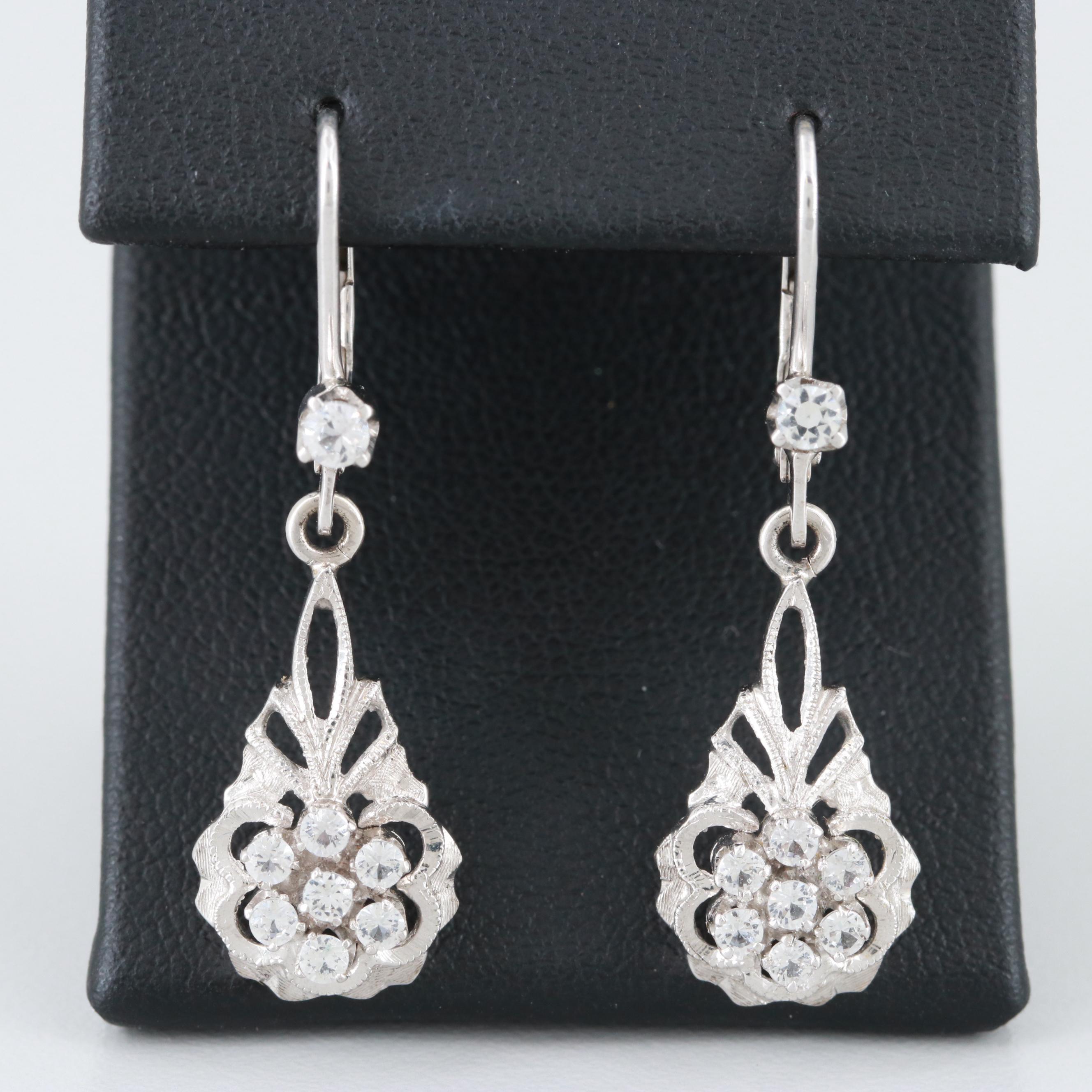 Vintage Italian 18K White Gold Synthetic White Spinel Dangle Earrings