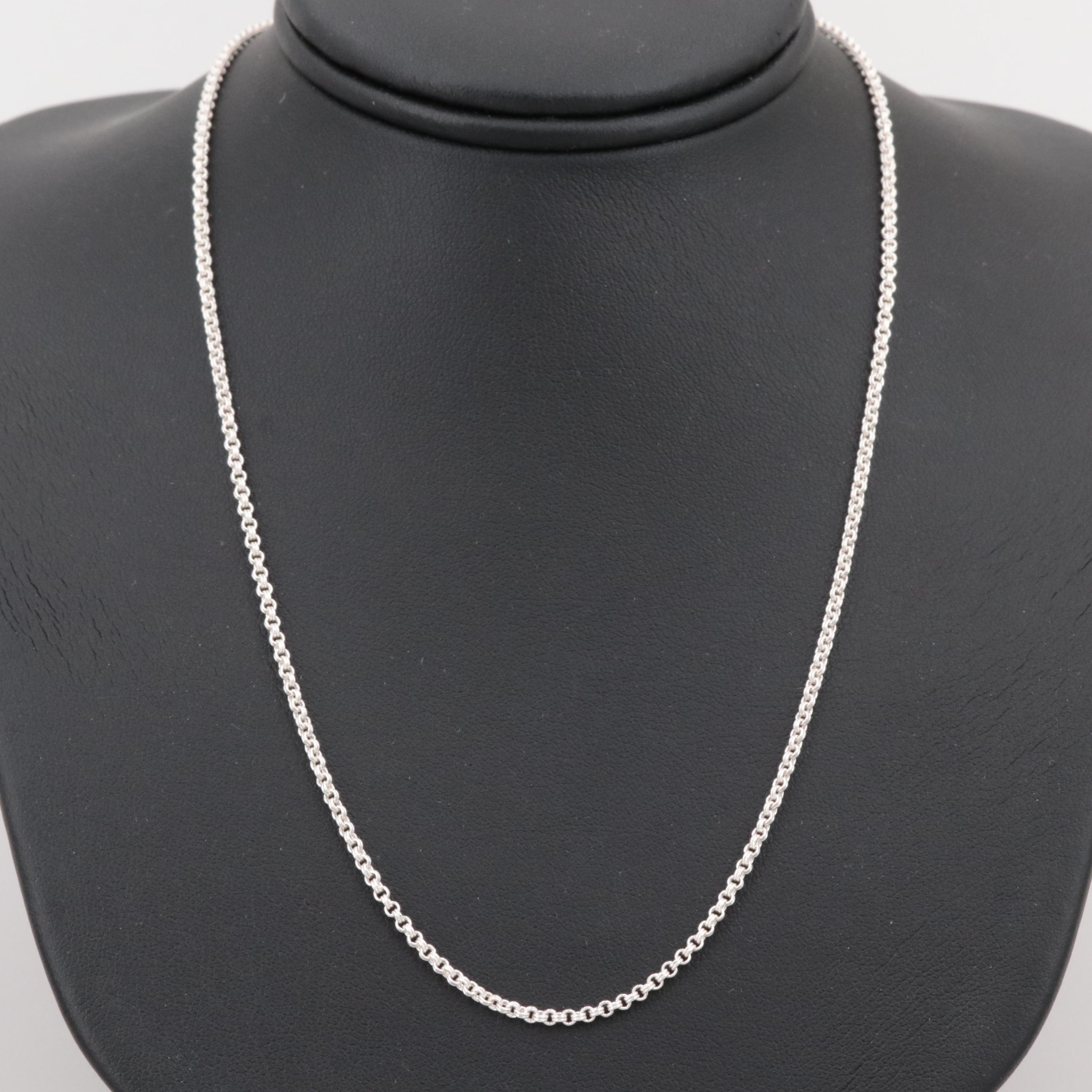 Sterling Silver Double Rolo Link Necklace