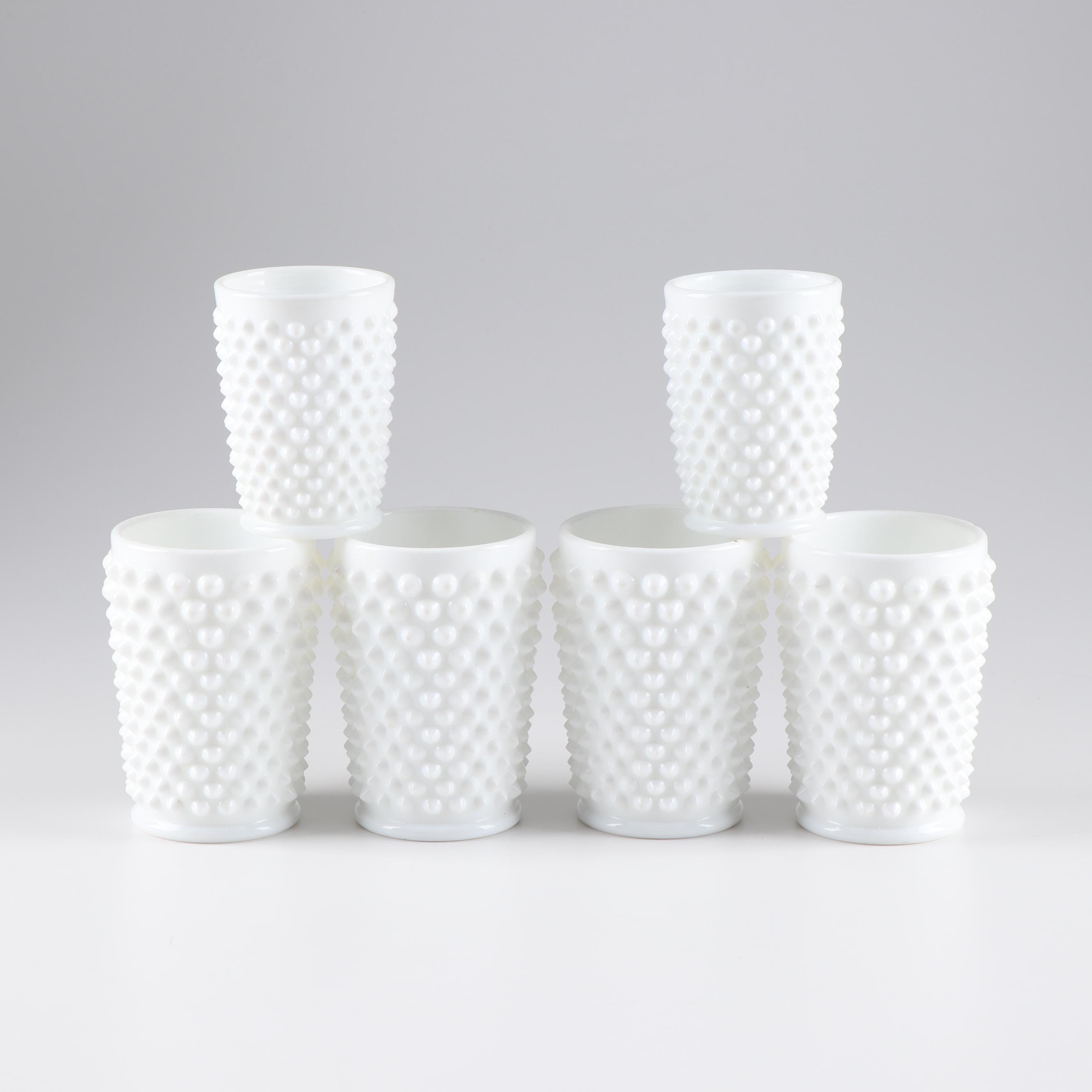Fenton Hobnail Milk Glass Tumblers and Juice Glasses