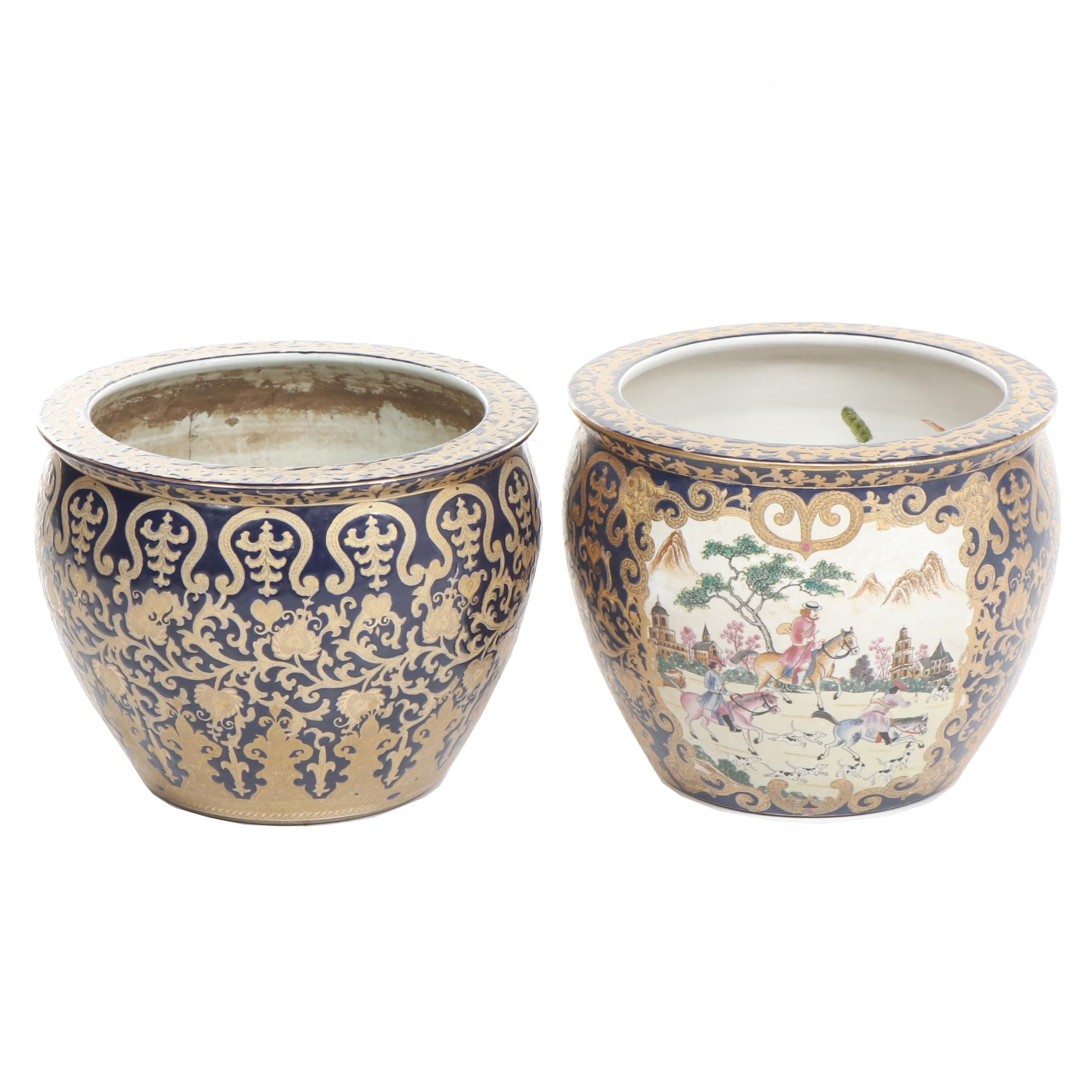 Large Hand-Painted Chinese Ceramic Planters