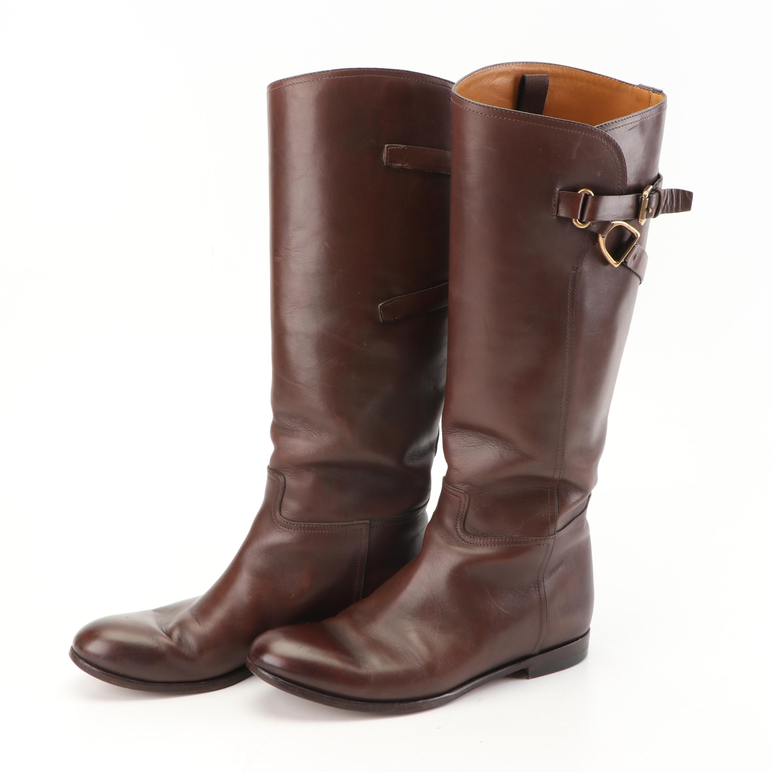 Women's Ralph Lauren Collection Chestnut Brown Leather Riding Boots