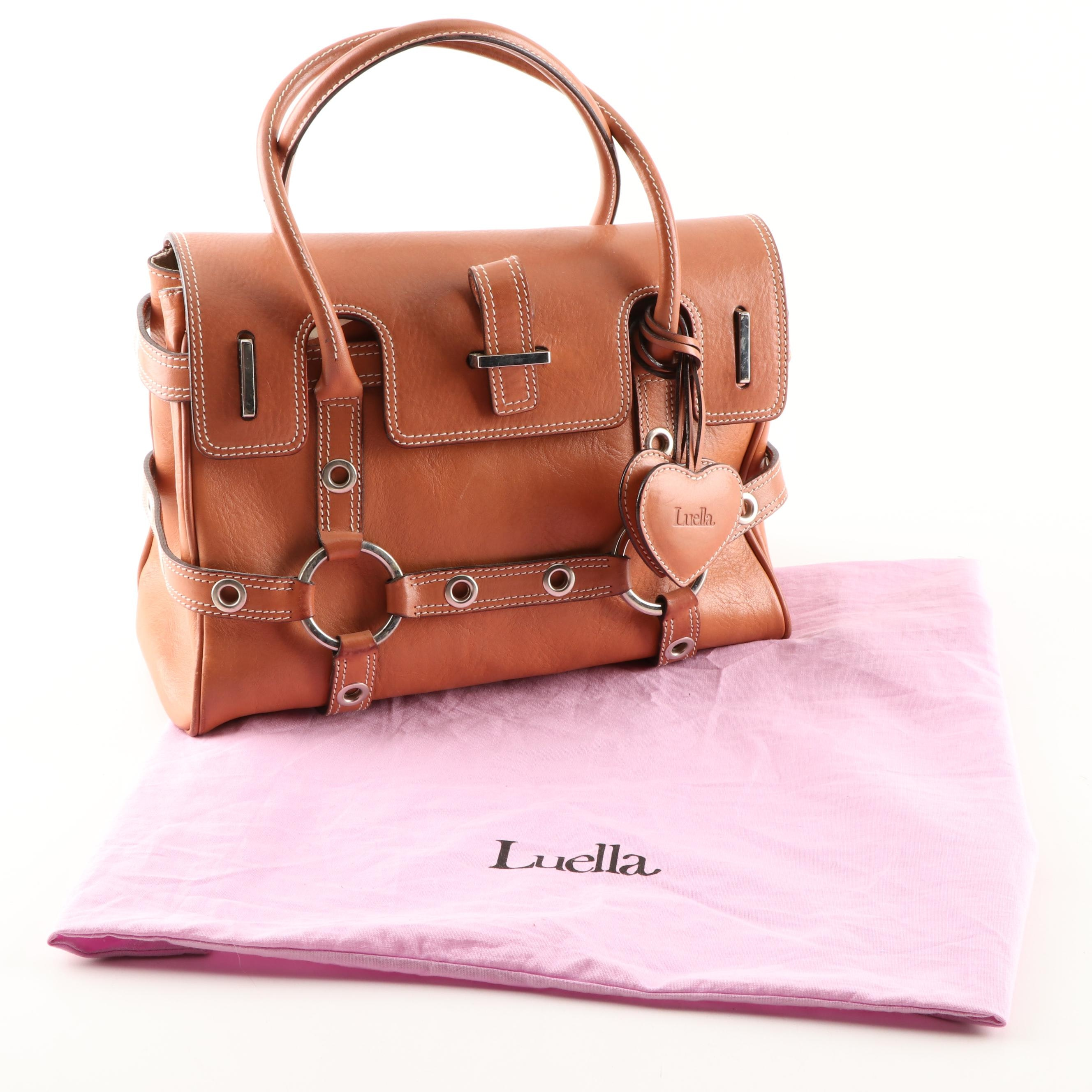 Luella Cognac Leather Satchel with Contrast Stitching