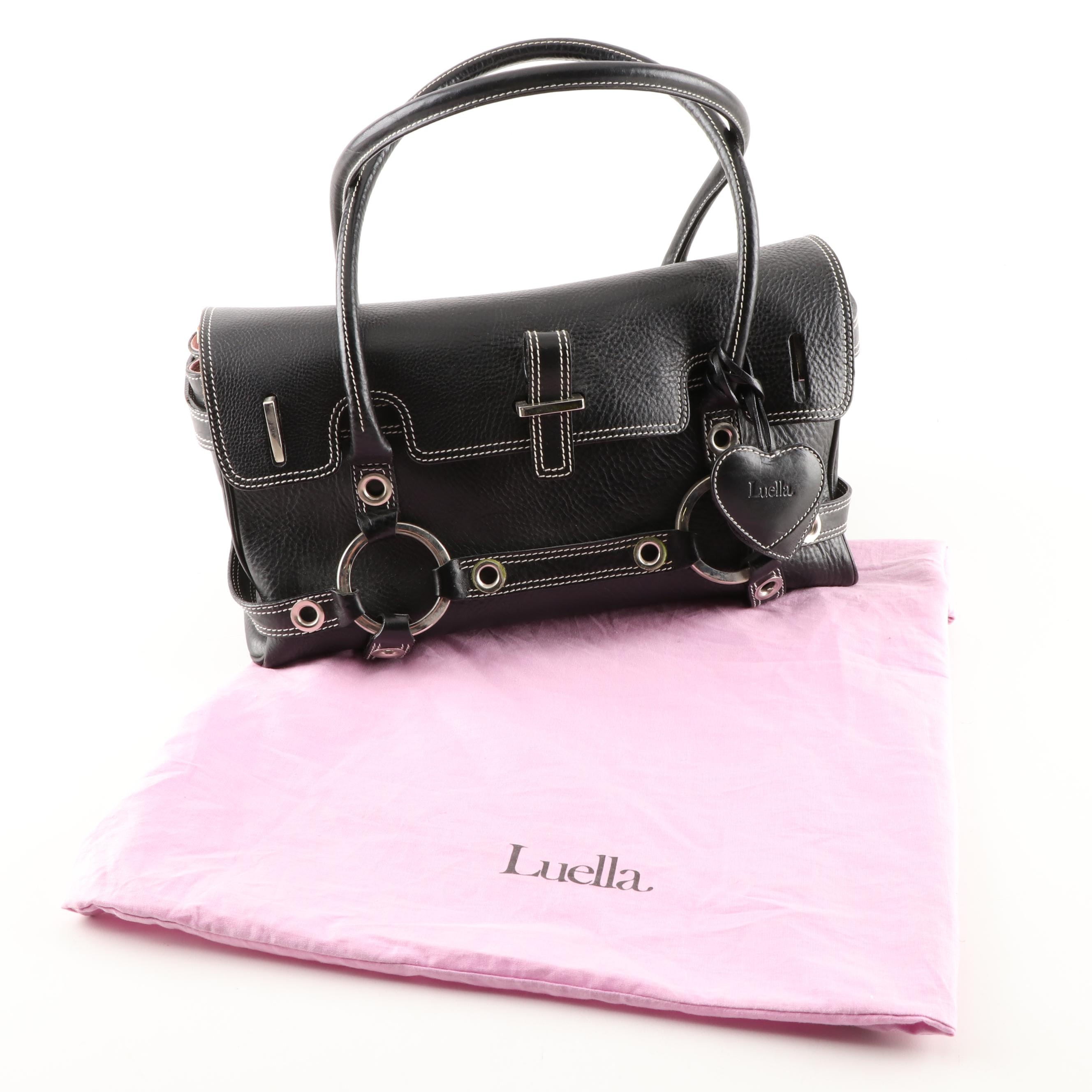 Luella Black Pebbled Leather Satchel with Contrast Stitching