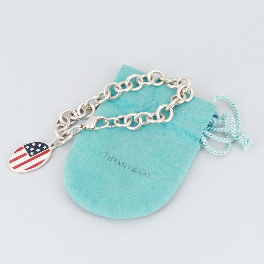 062dbb112fb9d Tiffany & Co. Sterling Silver Enamel American Flag Charm Bracelet with Pouch