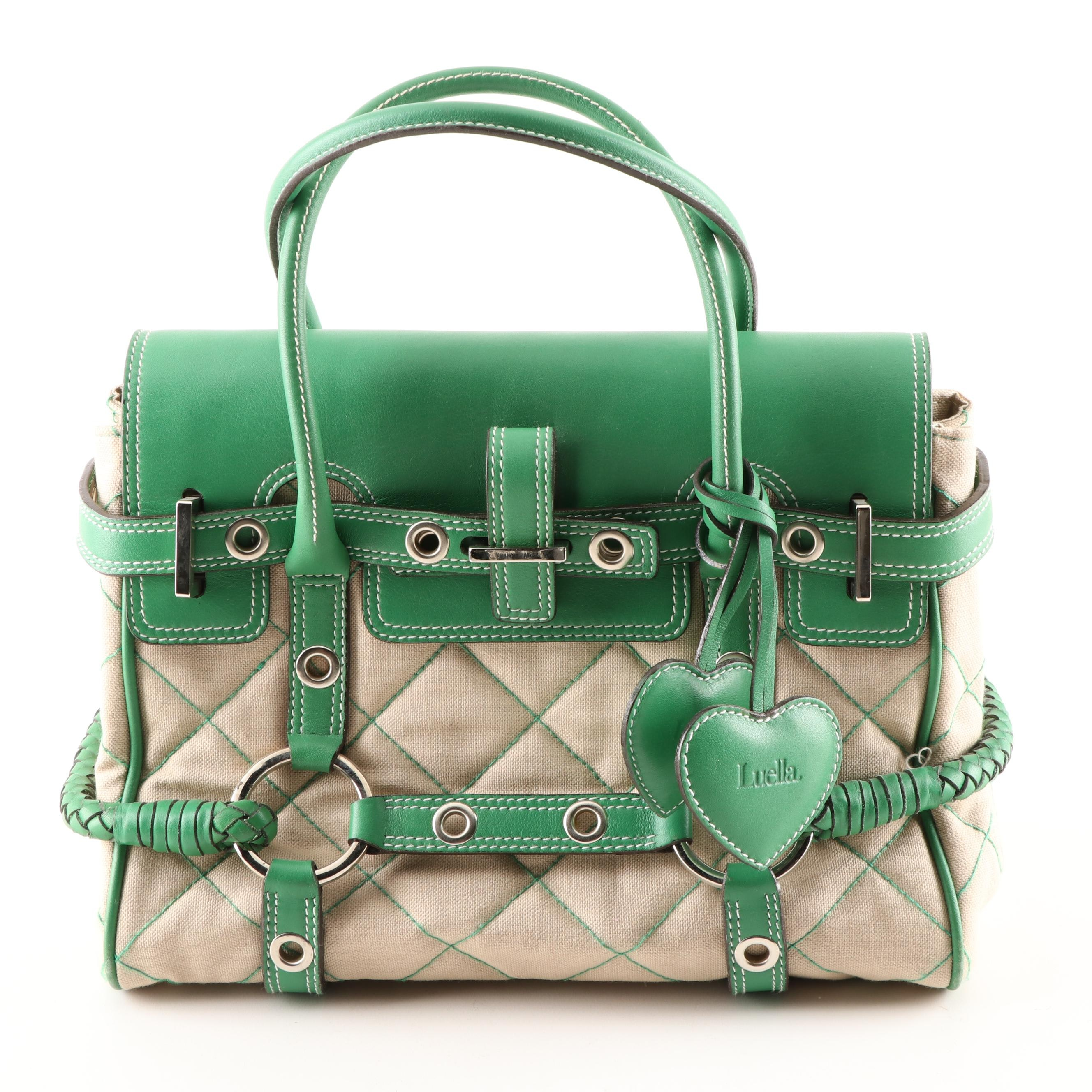 Luella Quilted Beige Canvas and Green Leather Satchel with Contrast Stitching