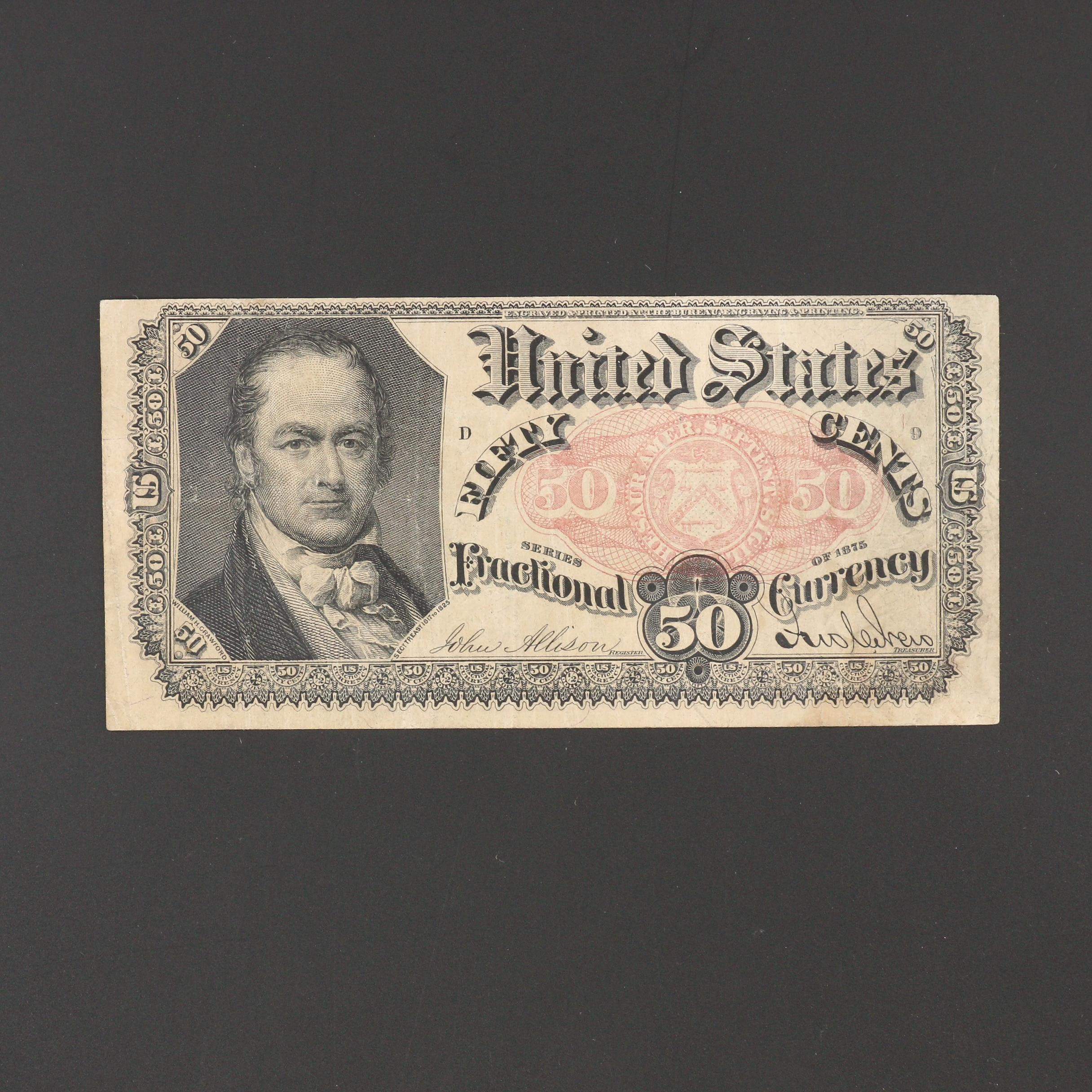 Fifth Issue 50-Cent Fractional Currency Note From 1875