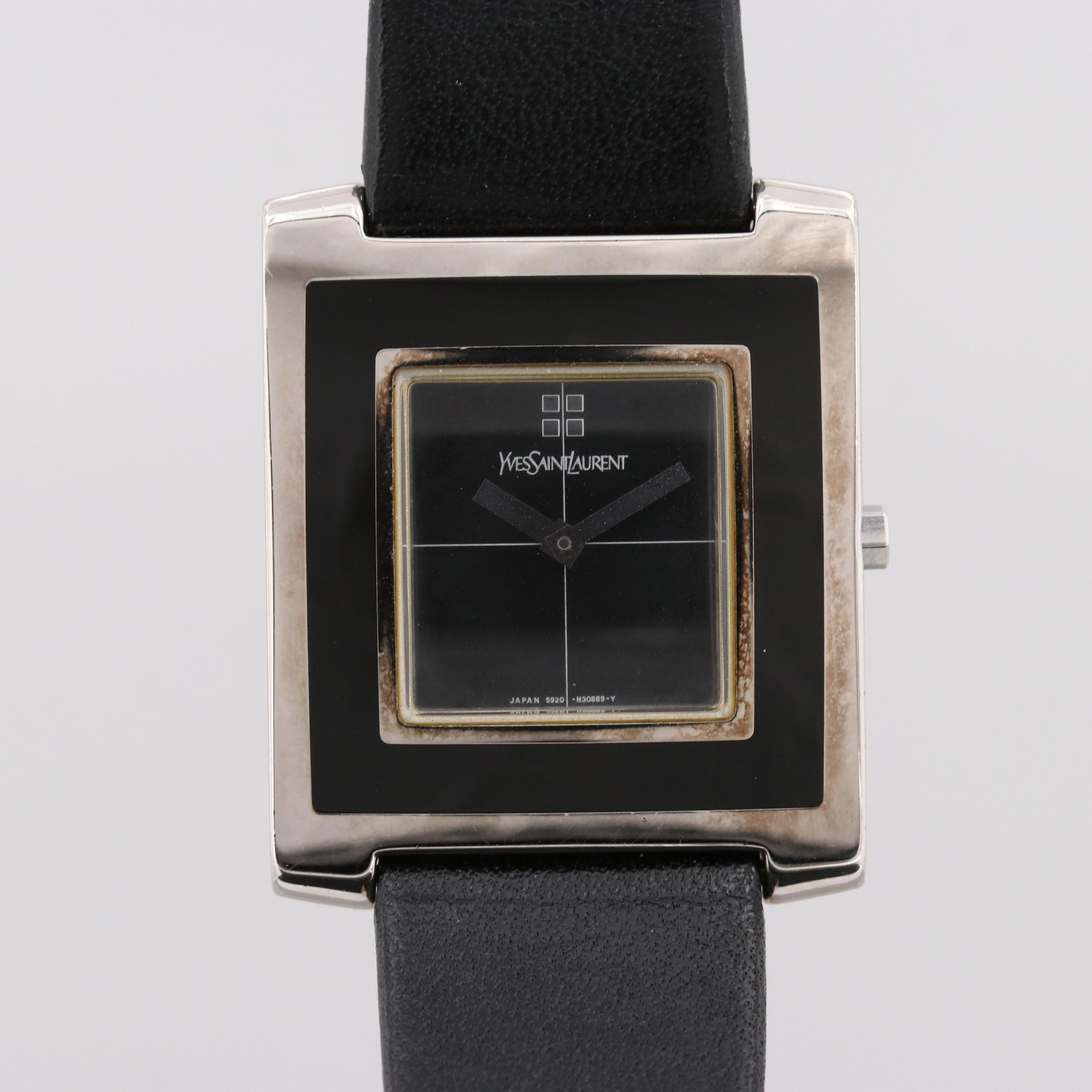 Yves Saint Laurent Black Enamel Wristwatch