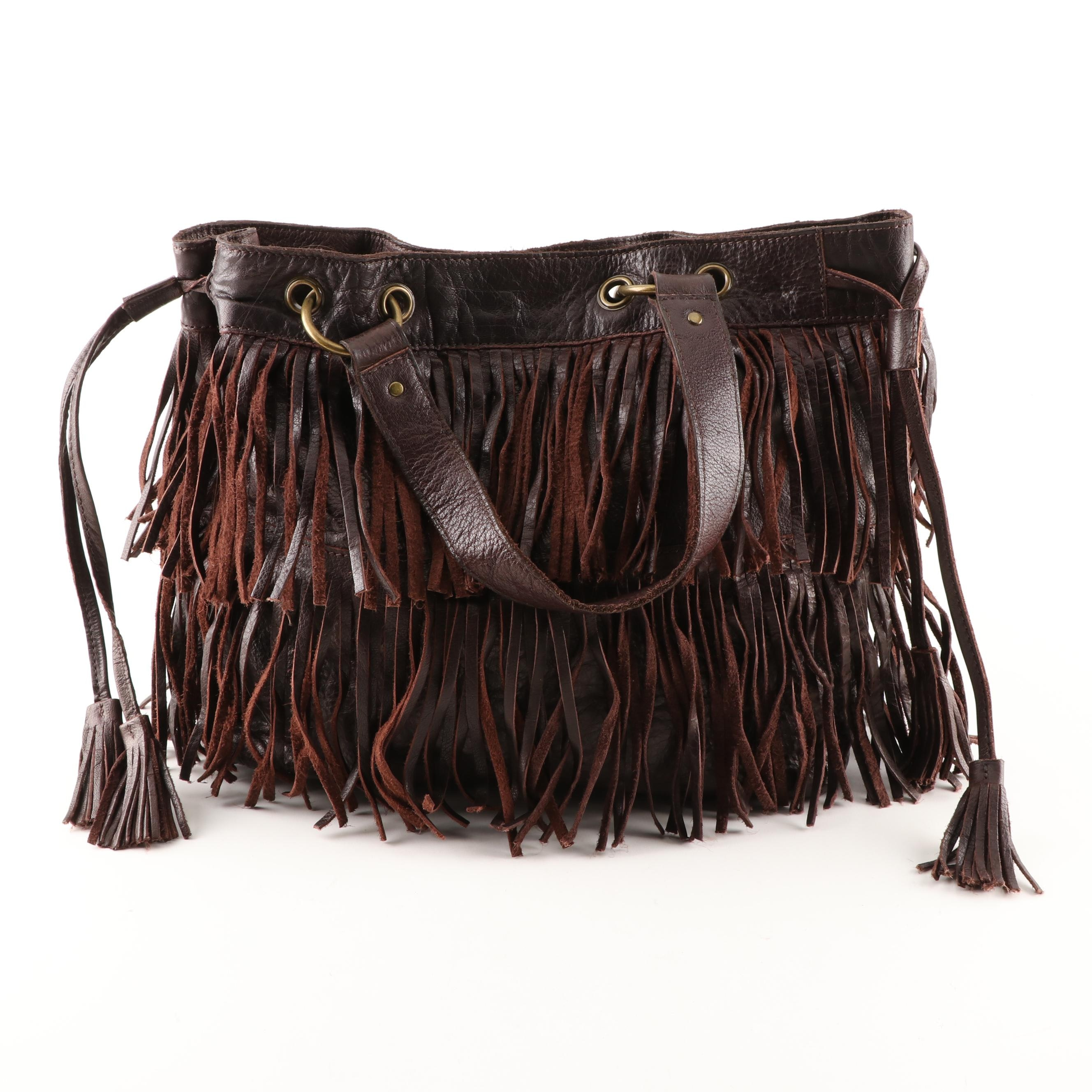 French Connection Fringed Brown Leather Tote Bag