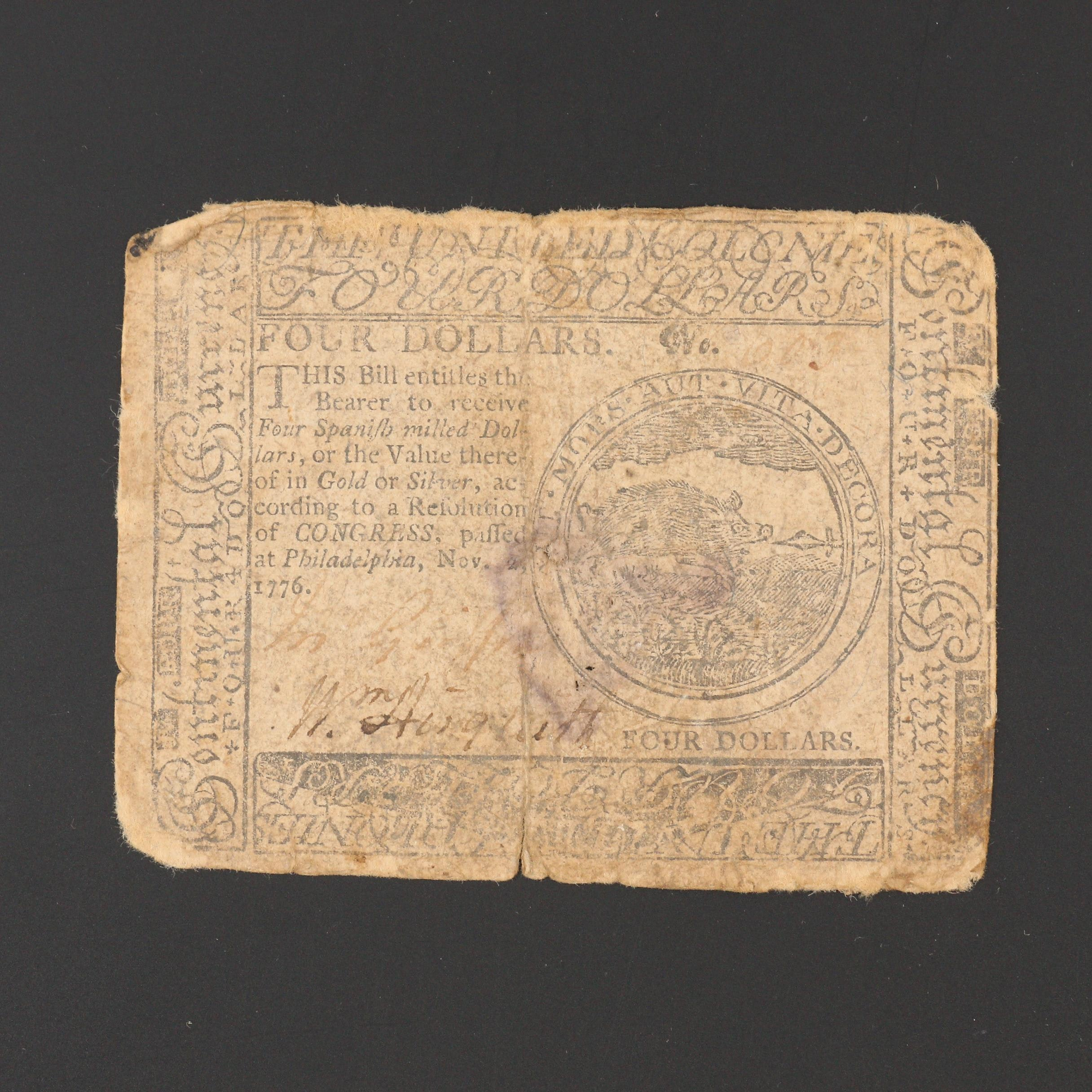 1776 Continental Congress $4 Currency Note