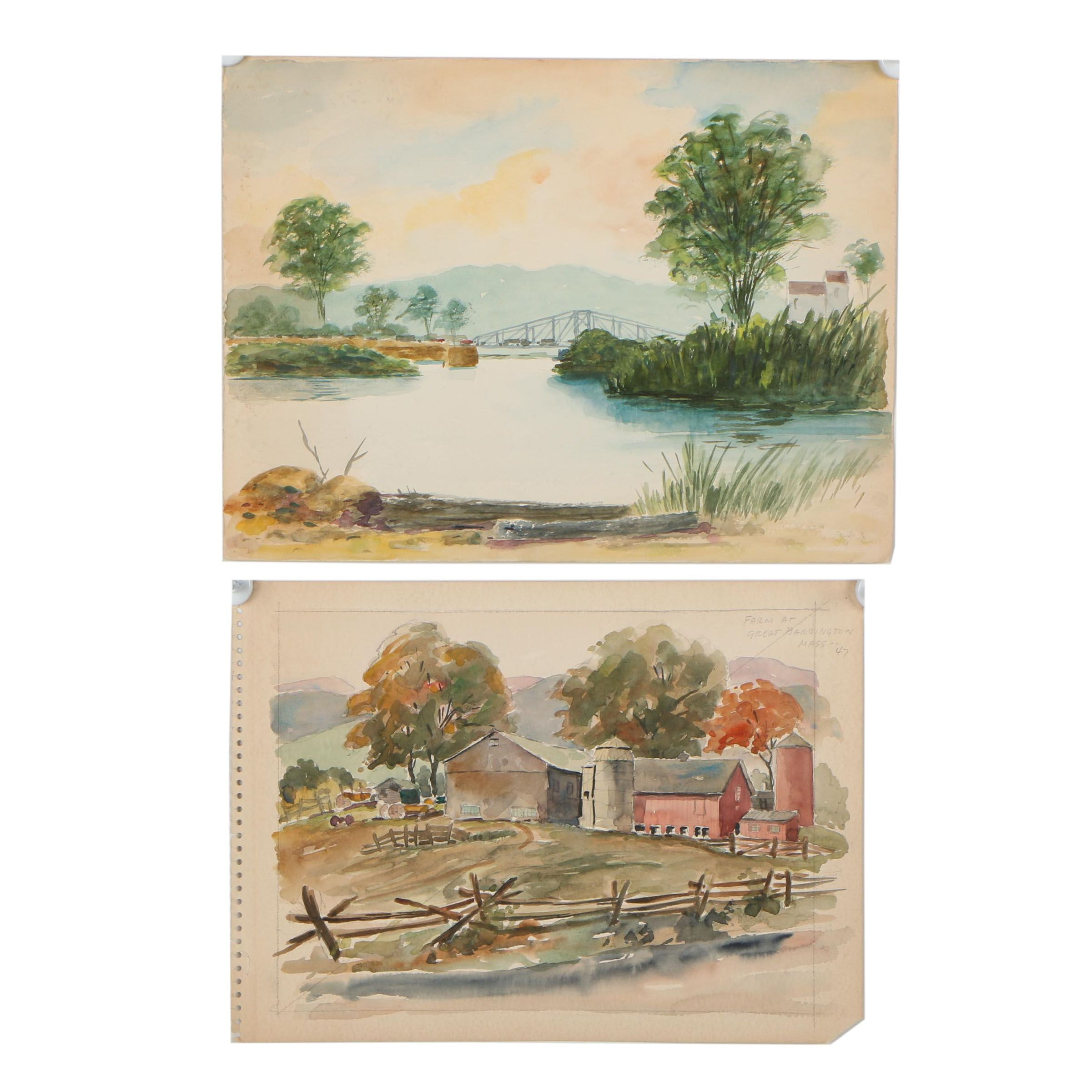Mid 20th Century Landscape Watercolor Paintings