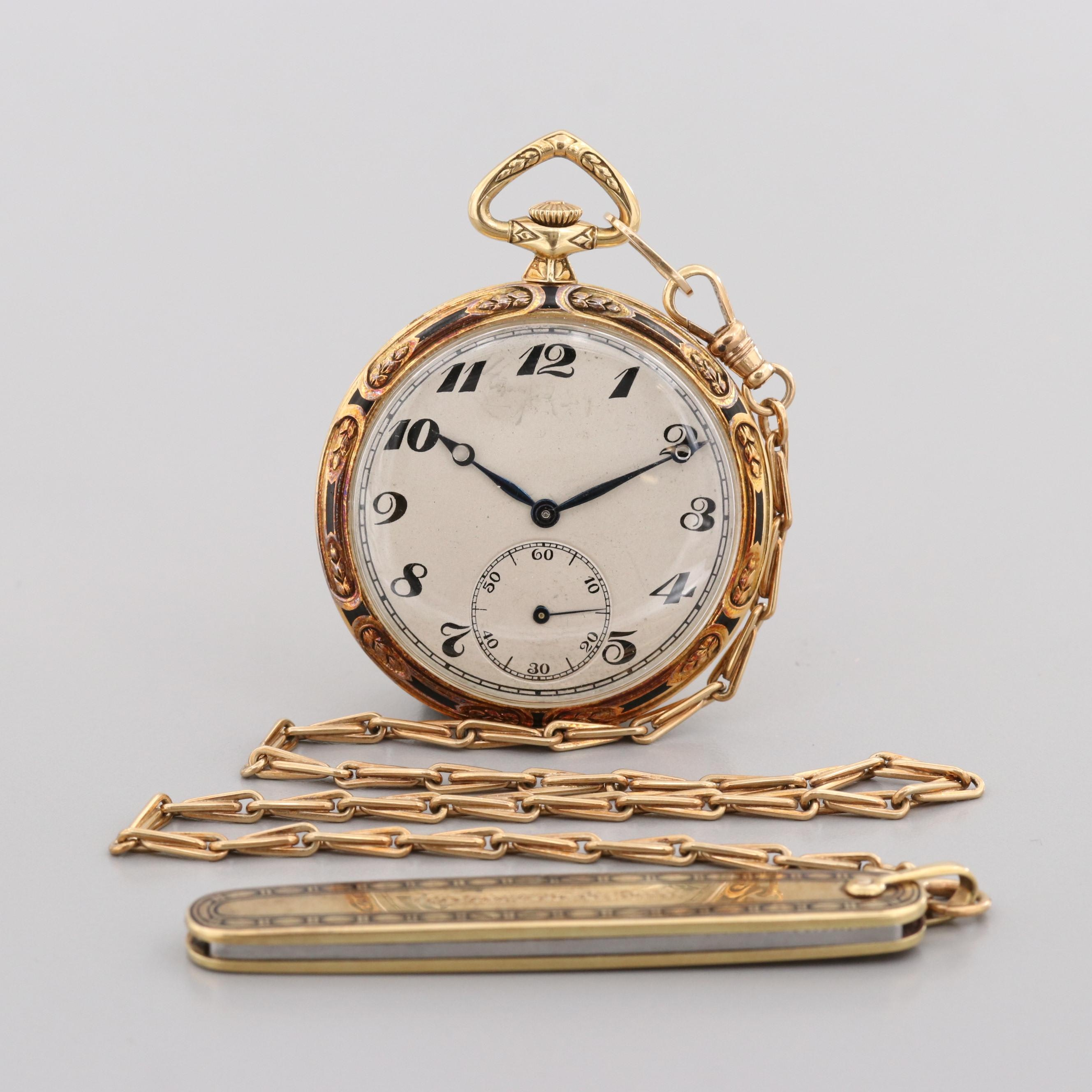 Vintage C.H. Meylan 18K Yellow Gold Pocket Watch With 14K Fob and Pocket Knife