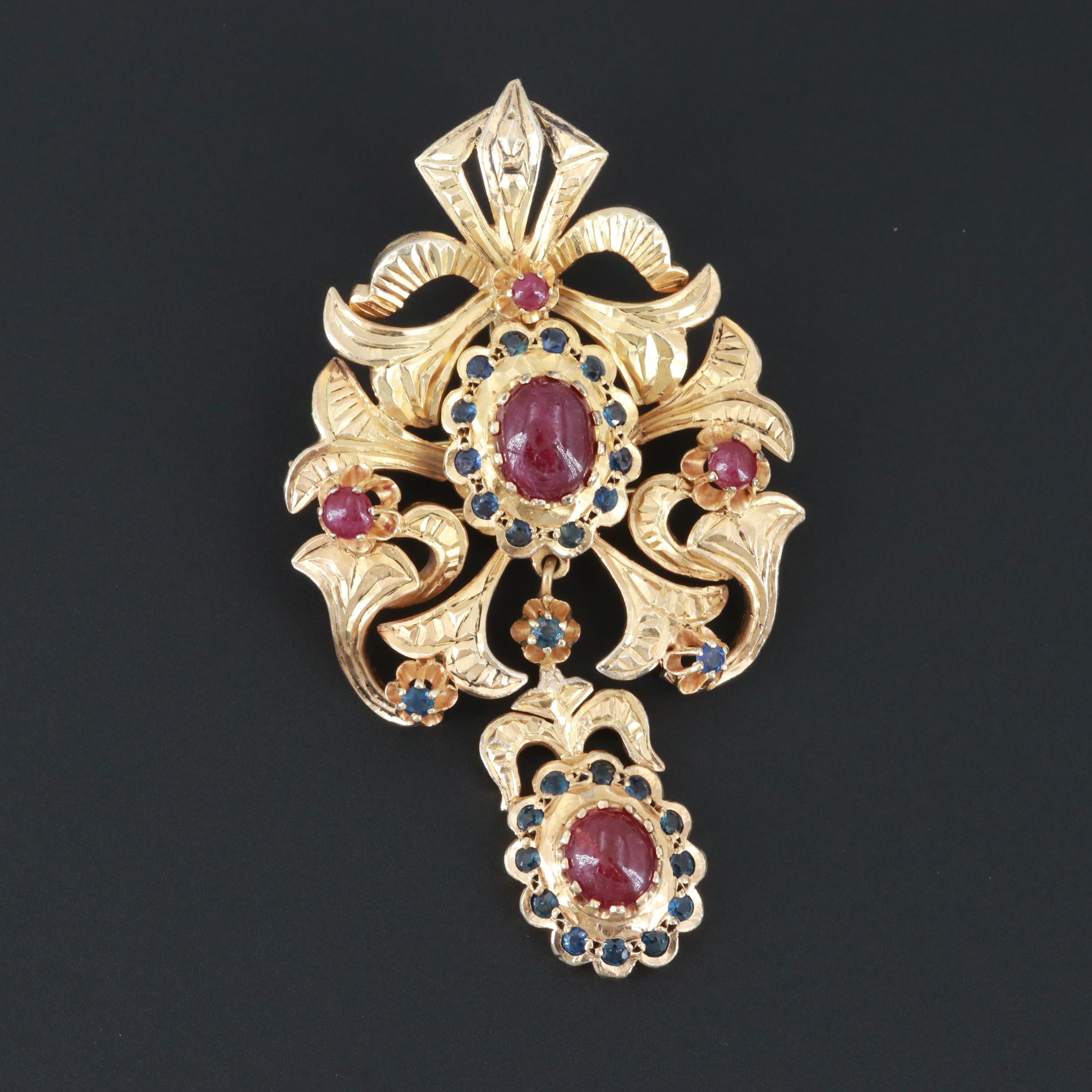 14K Yellow Gold Ruby and Blue Sapphire Fur Converter Brooch