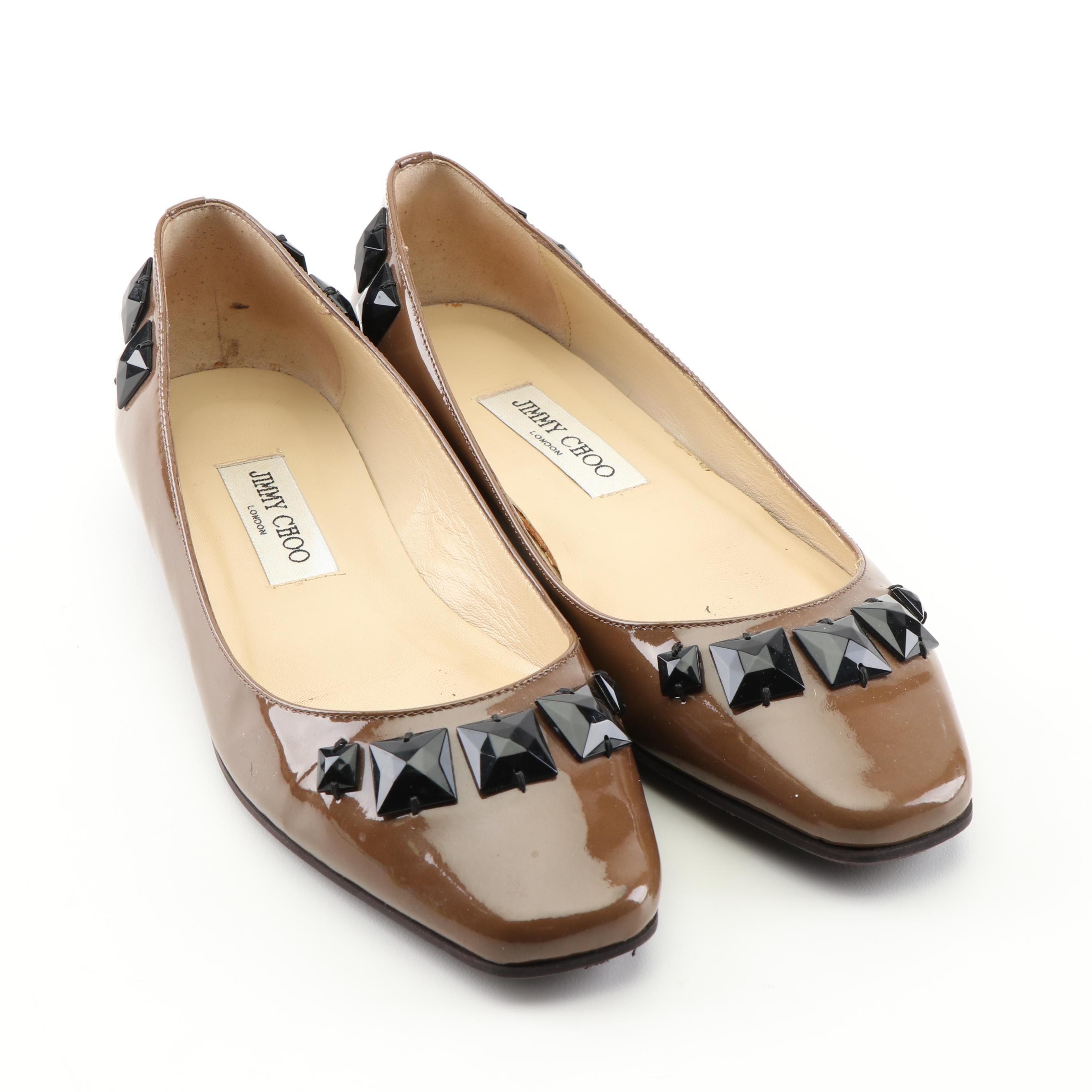 Jimmy Choo London Embellished Brown Patent Leather Flats