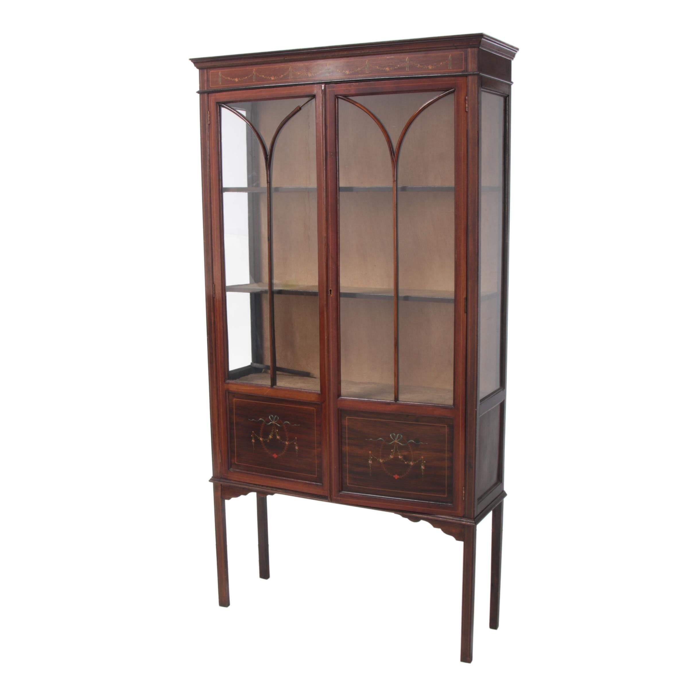 Edwardian String-Inlaid and Paint-Decorated Display Cabinet, Early 20th Century