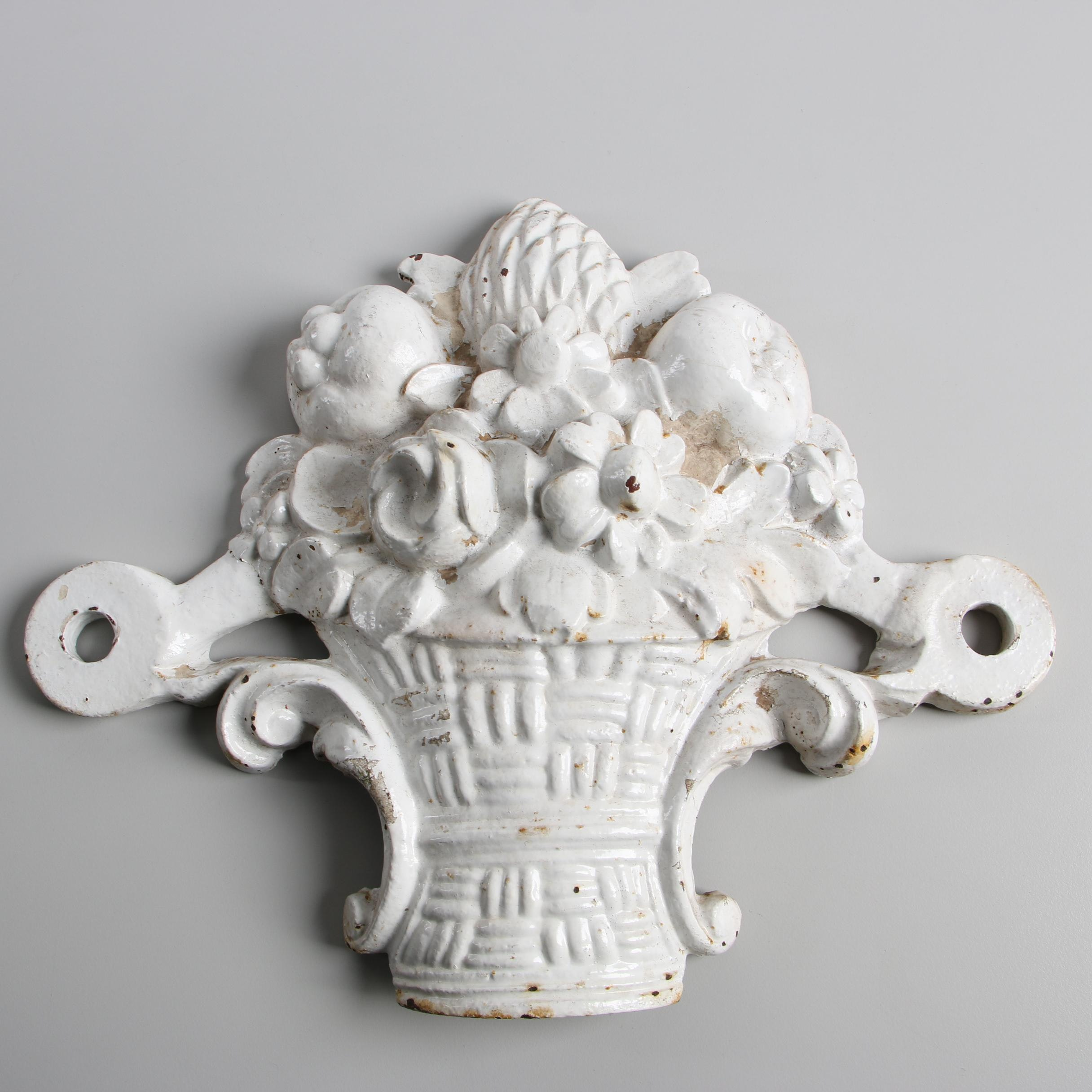Victorian Painted Cast Iron Flower Basket Wall Plaque, Late 19th Century
