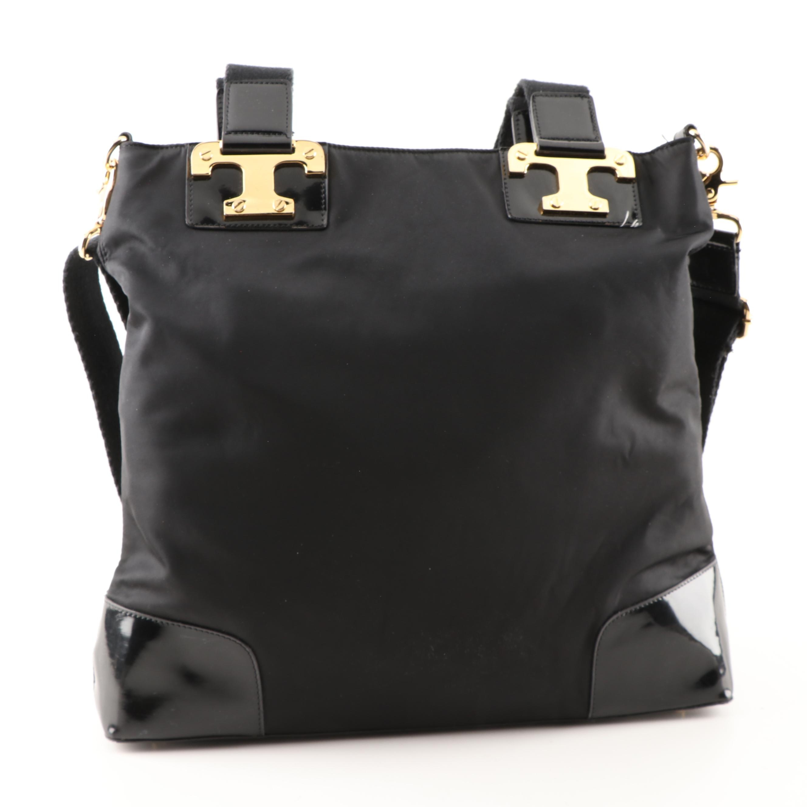 Tory Burch Black Nylon and Patent Leather Crossbody Tote Bag