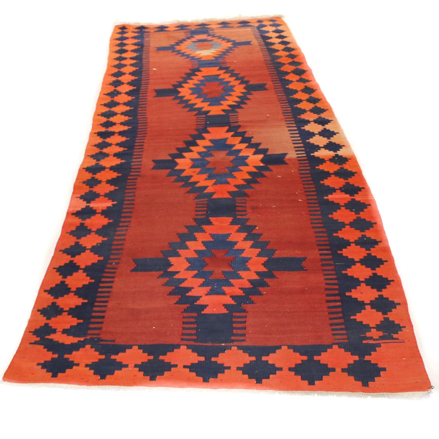 Hand-Knotted Turkish Kilim Long Rug