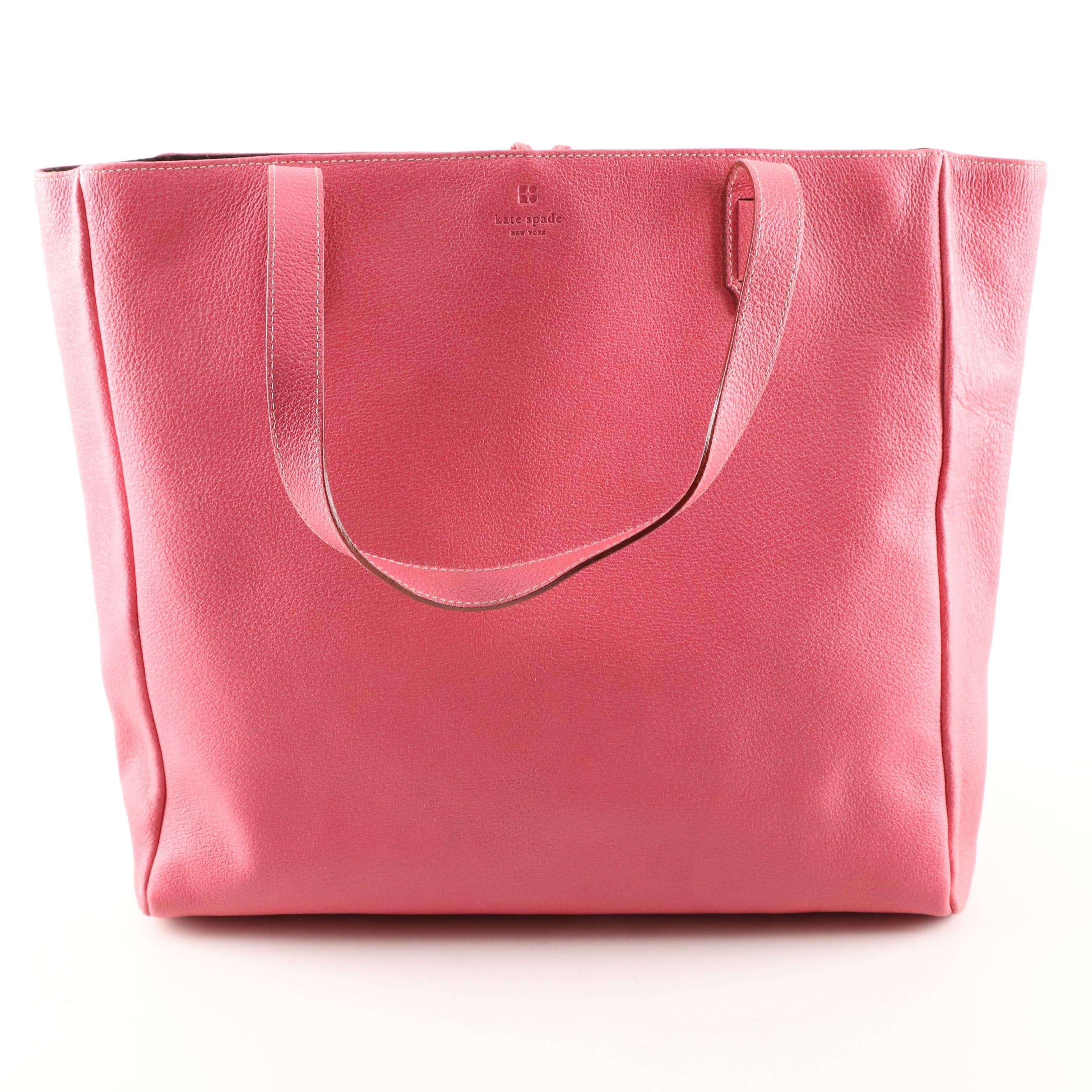 Kate Spade New York Coral Pink Pebbled Leather Tote Bag