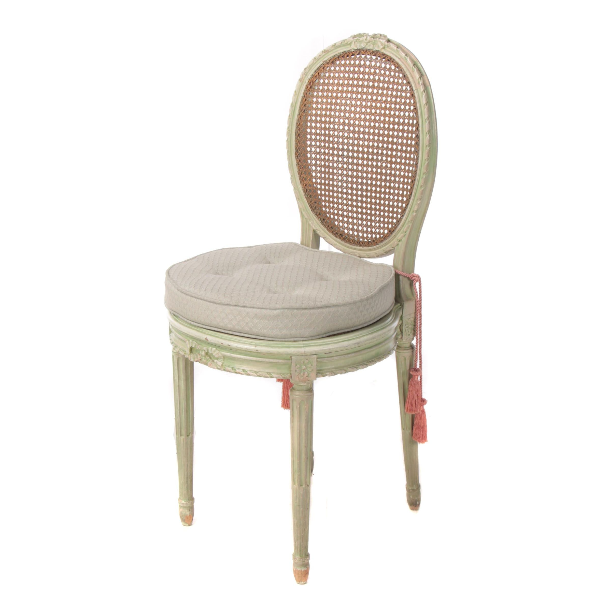 Louis XVI Style Green-Painted Beech Petite Side Chair, 20th Century