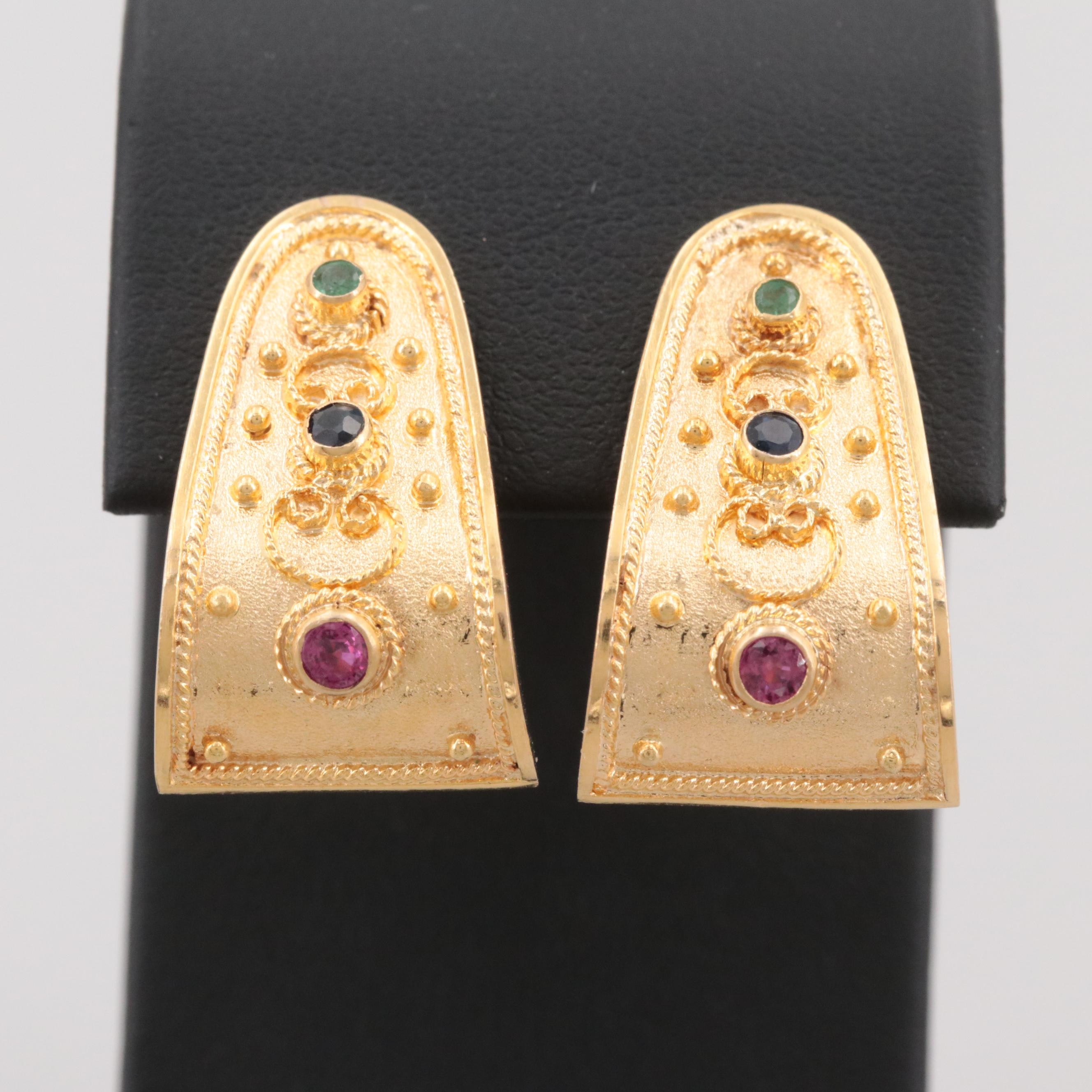 18K Yellow Gold Ruby, Blue Sapphire and Emerald Earrings