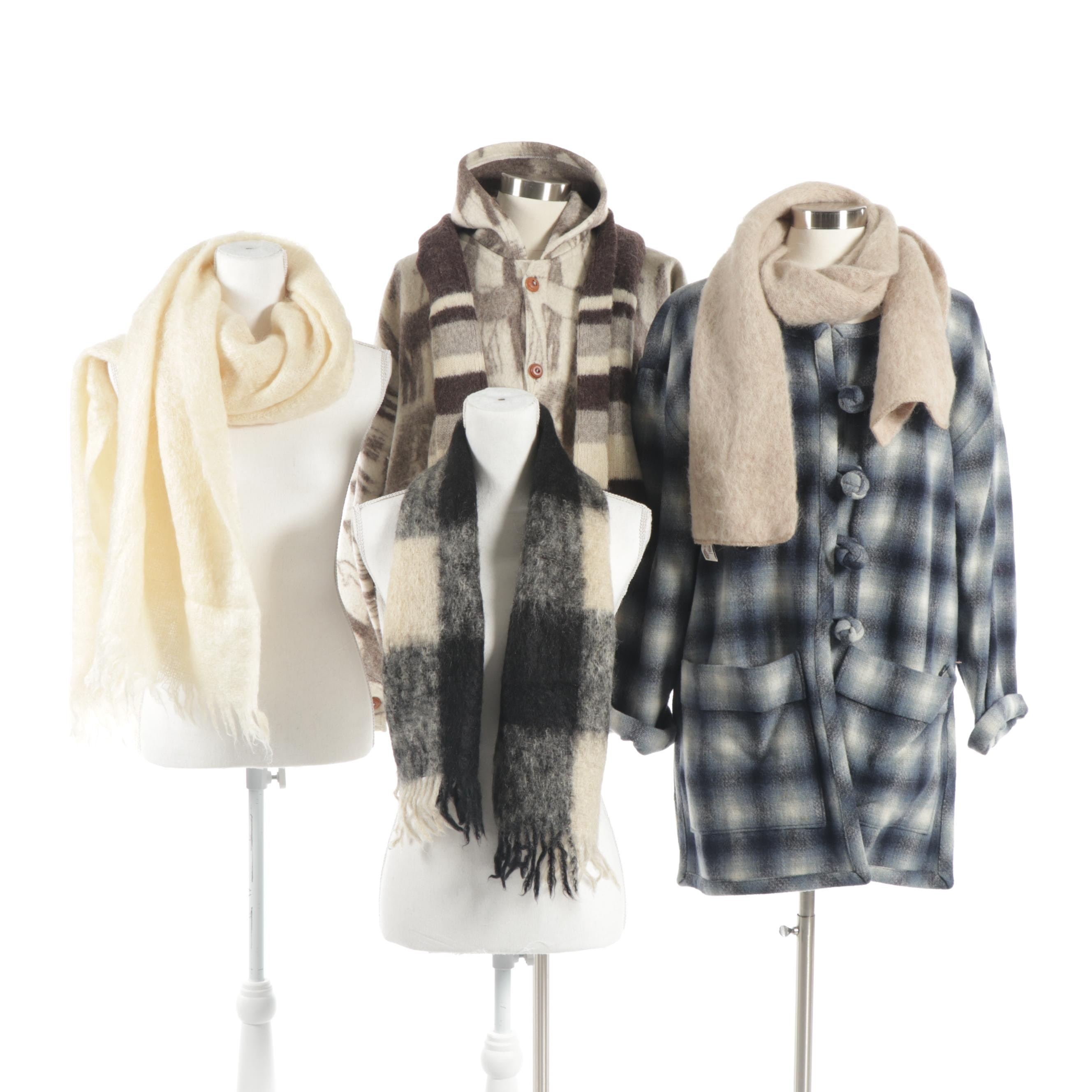 Women's Wool and Alpaca Outerwear Including Mohair Scarves