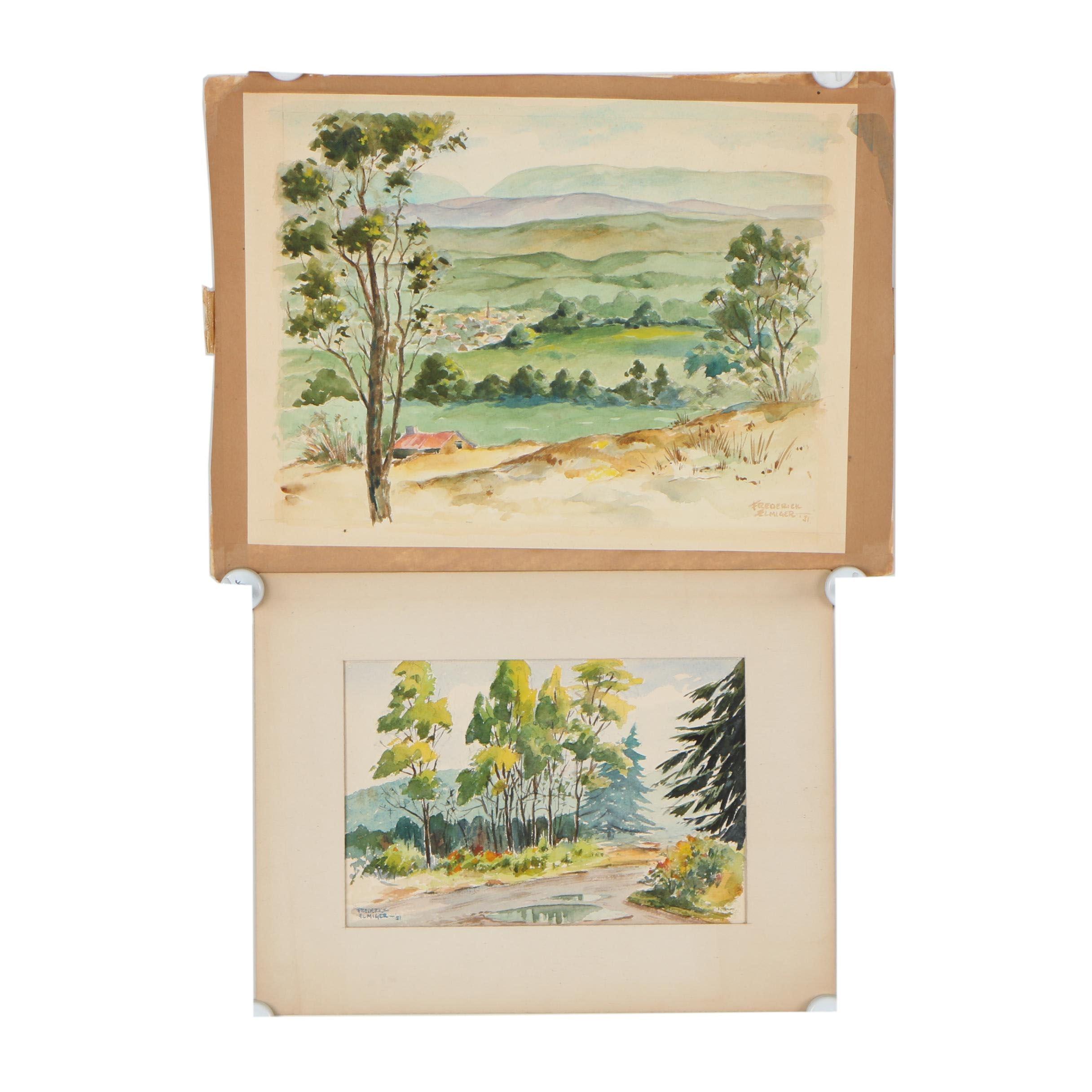 Frederick Elmiger Landscape Watercolor Paintings