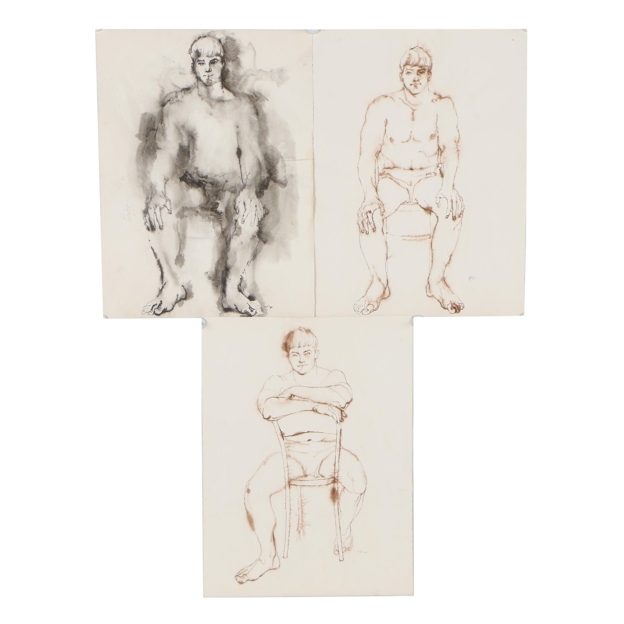 John Tuska 1968 Figural Ink Drawings