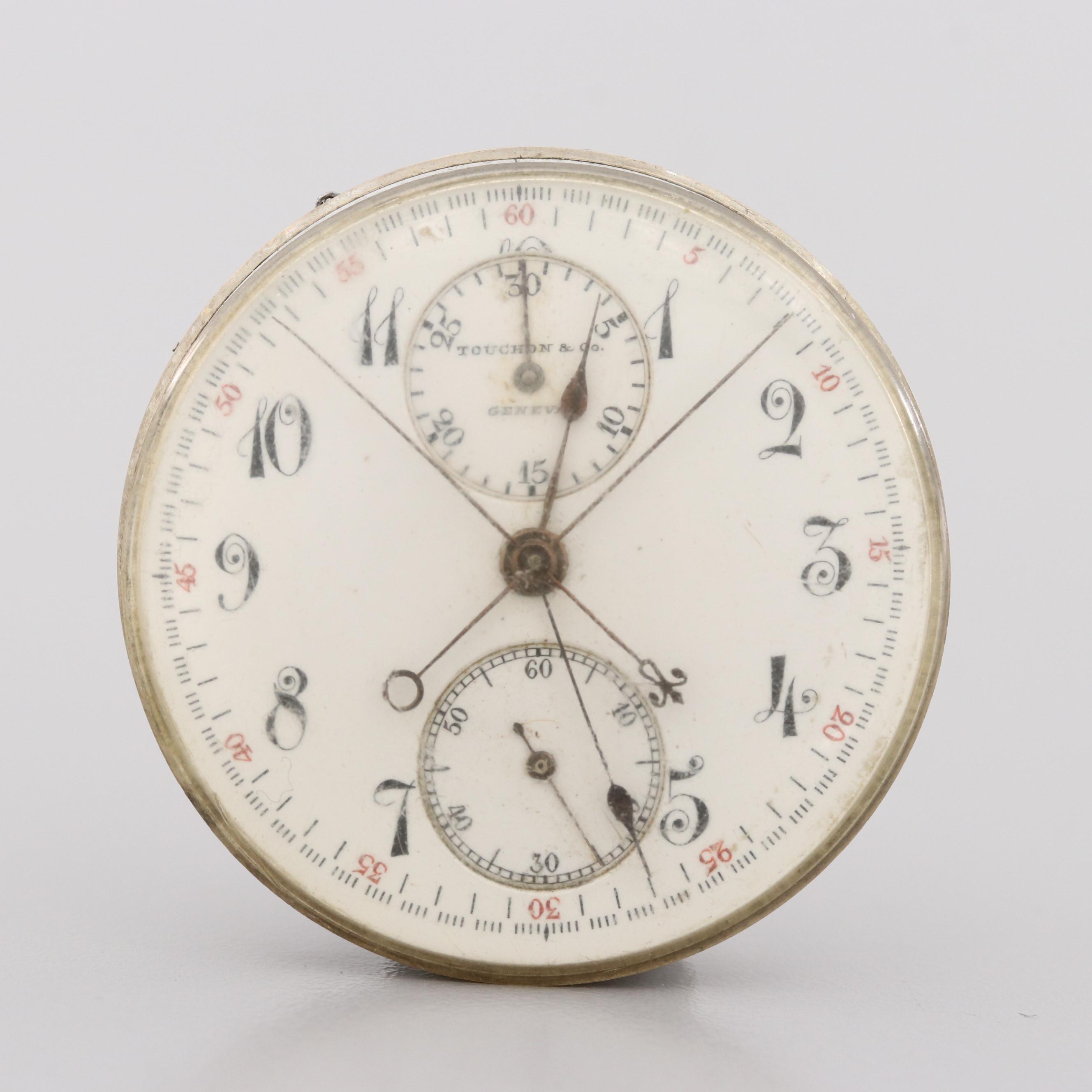 Antique Touchon & Co. Split Second Chronograph Movement and Dial