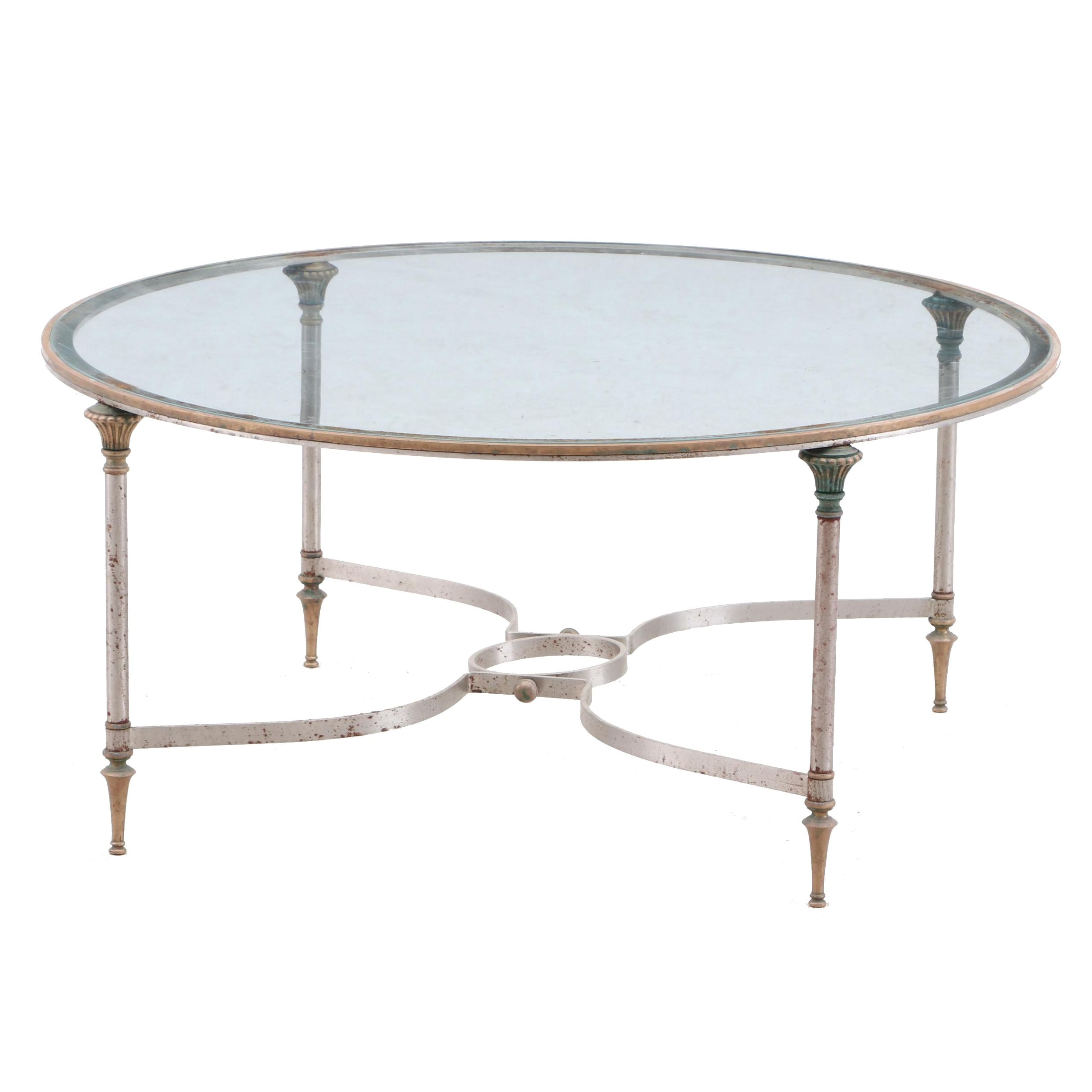 Federal Style Glass and Brass Coffee Table