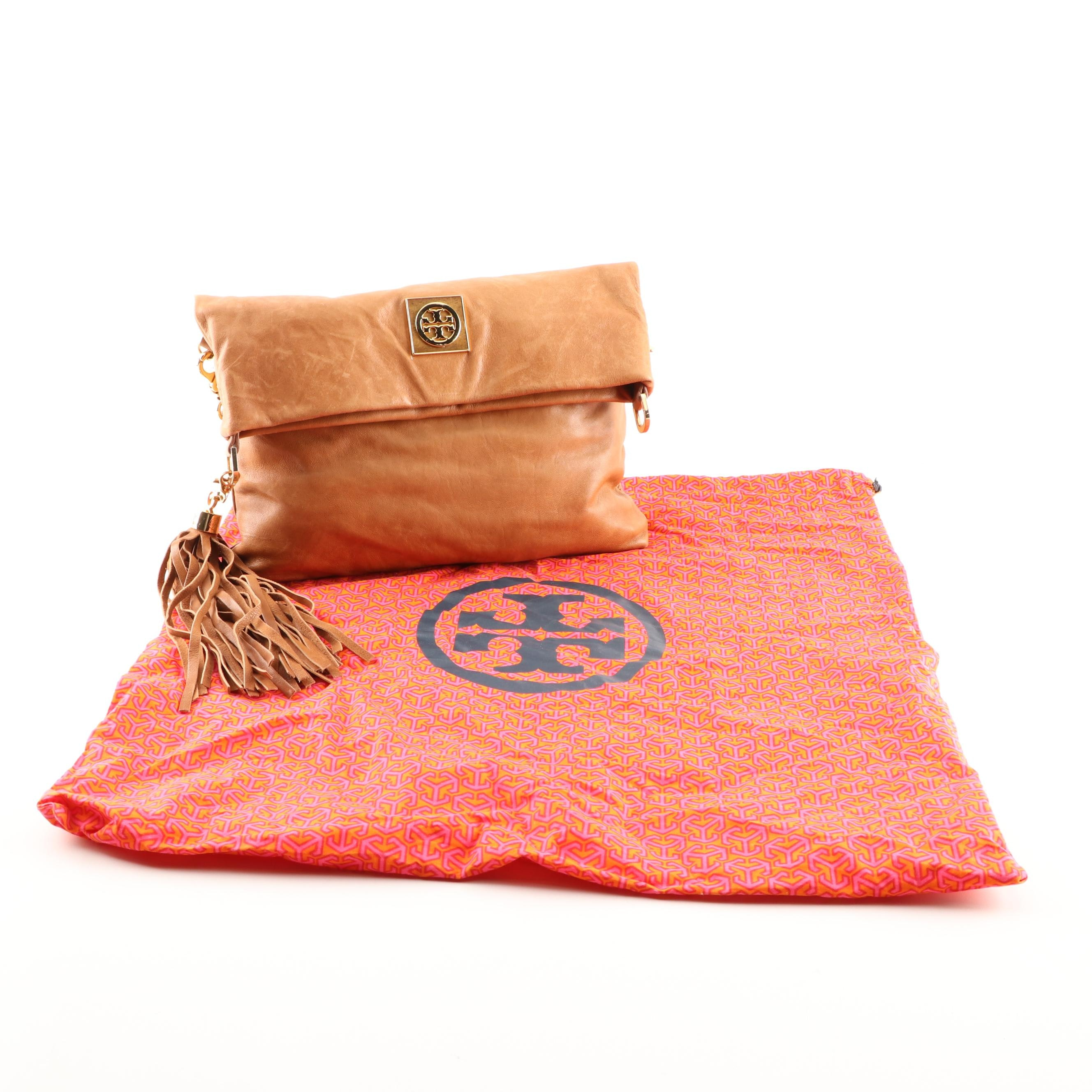 Tory Burch Distressed Leather Foldover Crossbody Bag with Fringed Tassel