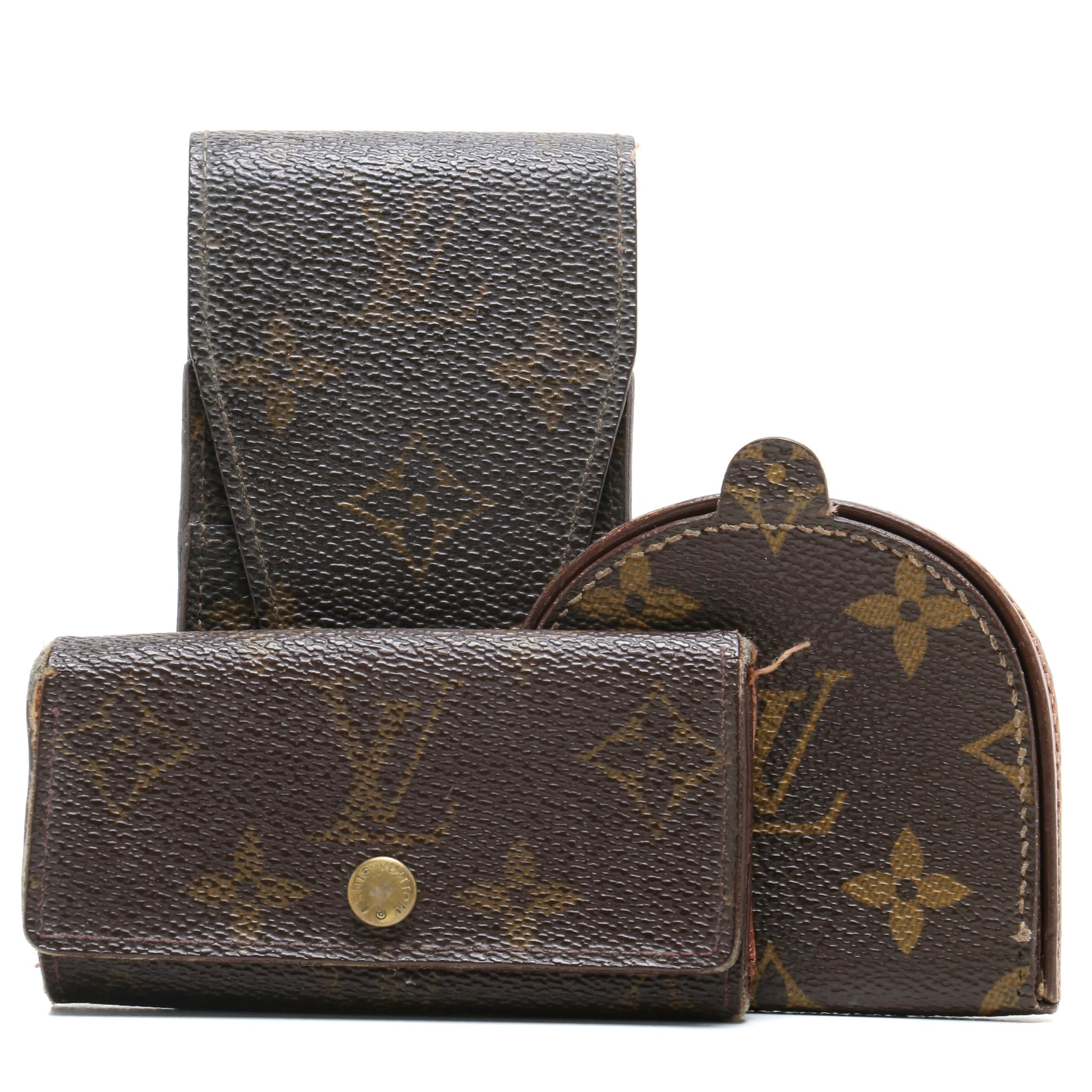 Louis Vuitton Paris Monogram Canvas Coin Purse, Cell Phone Holder, and Key Case