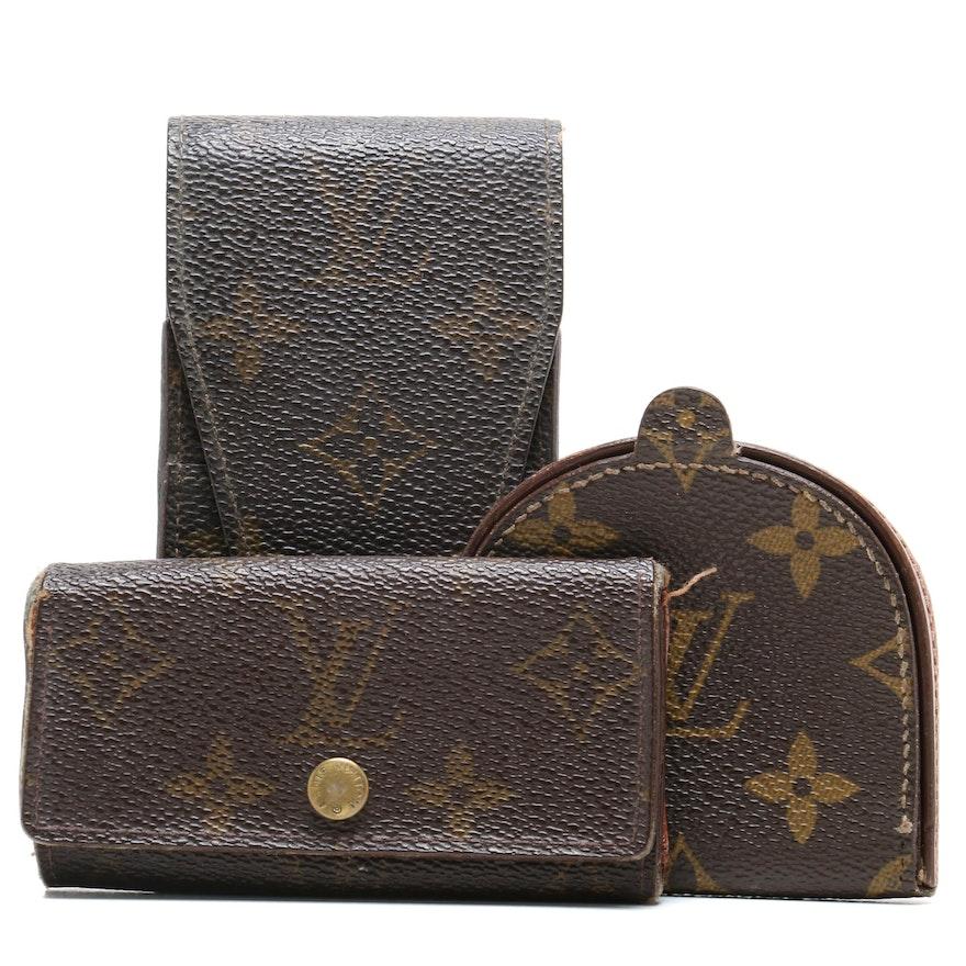 reputable site 37d6d cd1bc Louis Vuitton Paris Monogram Canvas Coin Purse, Cell Phone Holder, and Key  Case