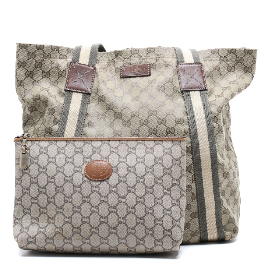 d2972b2e45e Gucci GG Large Canvas Tote and Gucci GG Plus Cosmetic Bag   EBTH