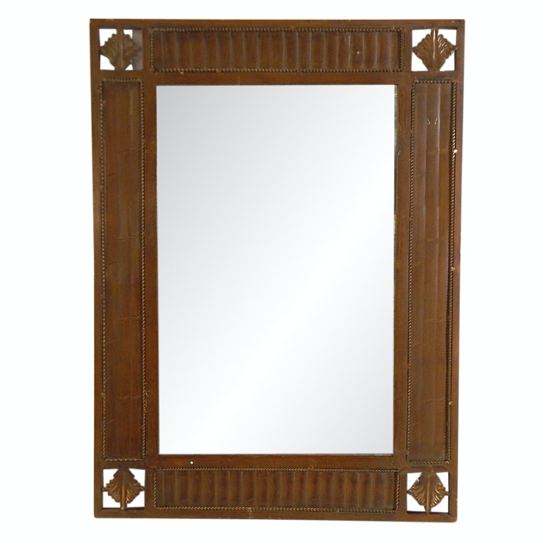 Beveled Wall Mirror with Metal and Iron Stylized Frame