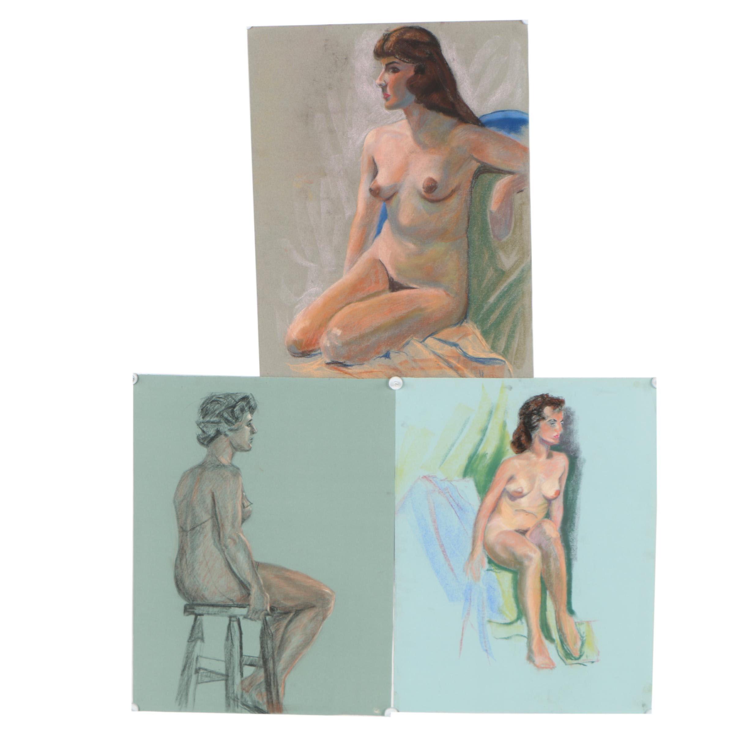 Judge Edward J. Hummer Figural Pastel Drawings