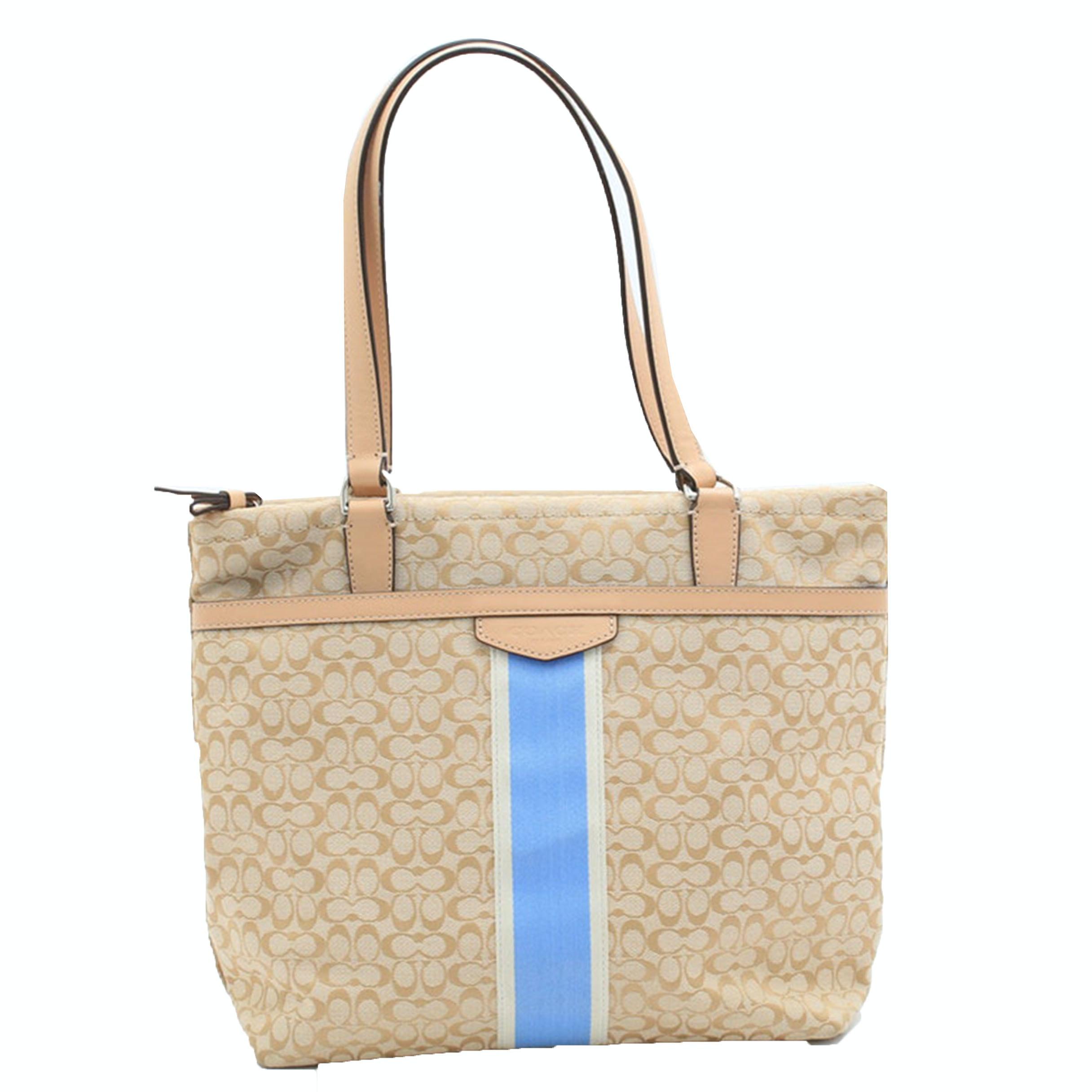 Coach Signature Stripe 6cm Tote Bag