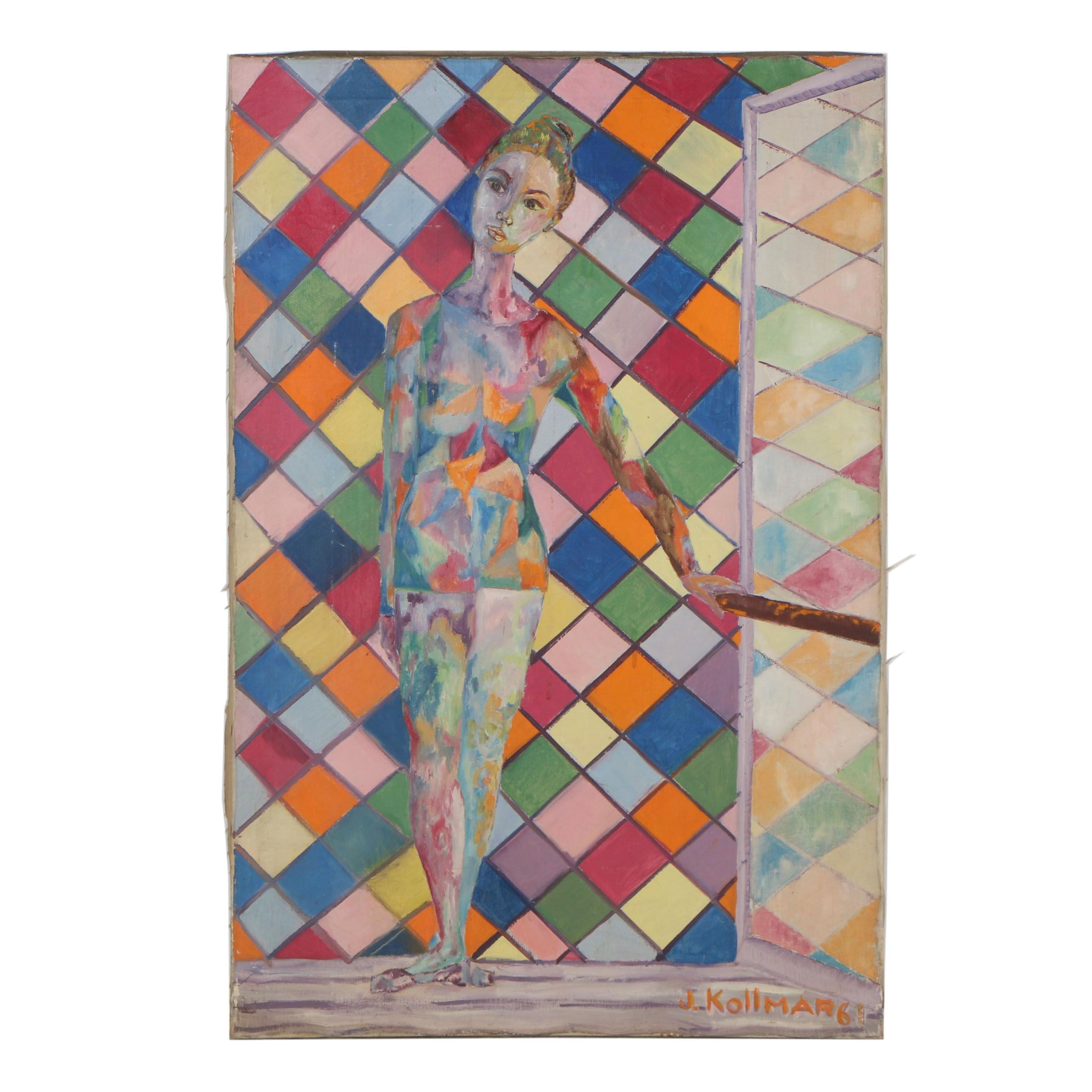 J. Kollmar Abstract Oil Painting of a Dancer