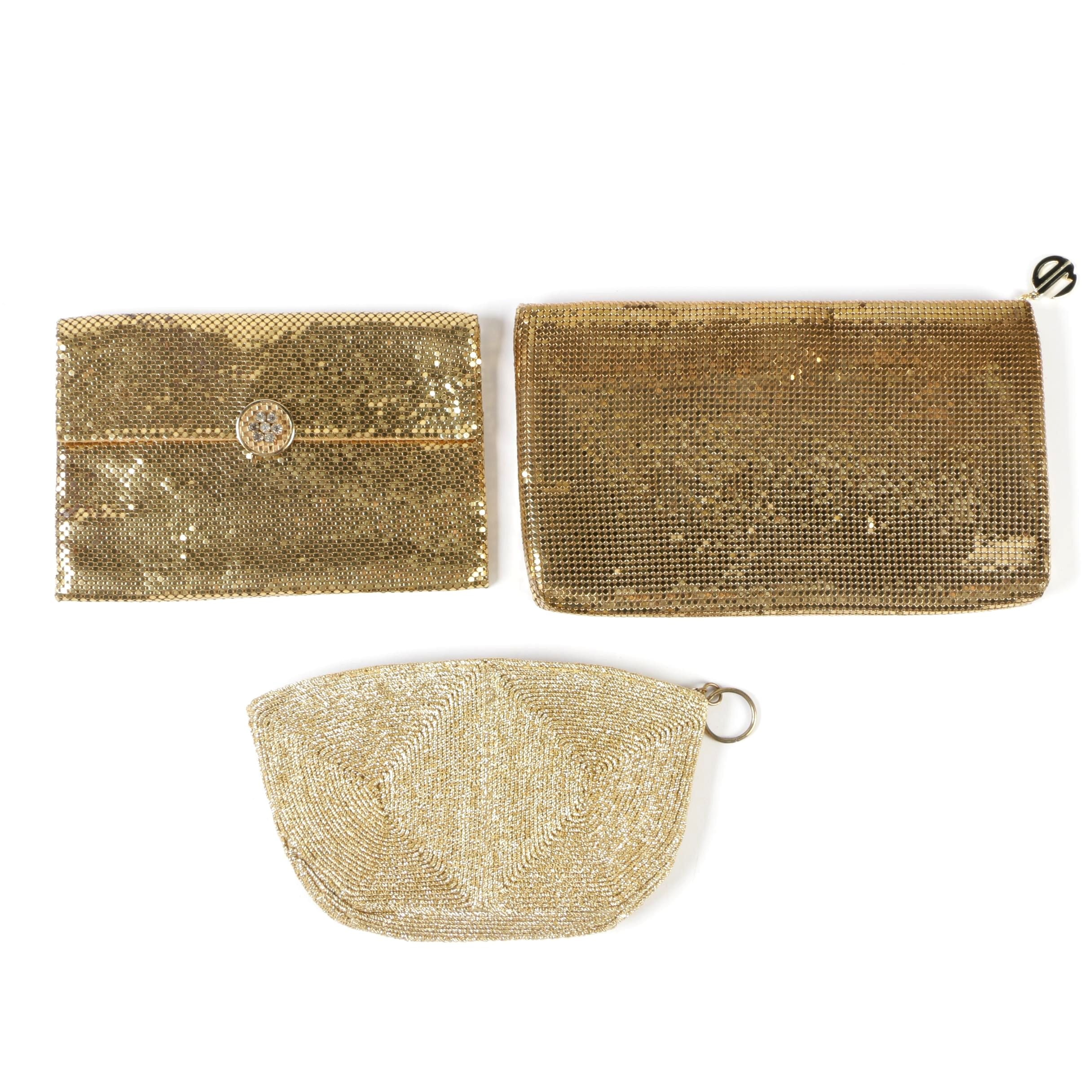Metallic Gold and Mesh Clutches Including Whiting & Davis, Vintage