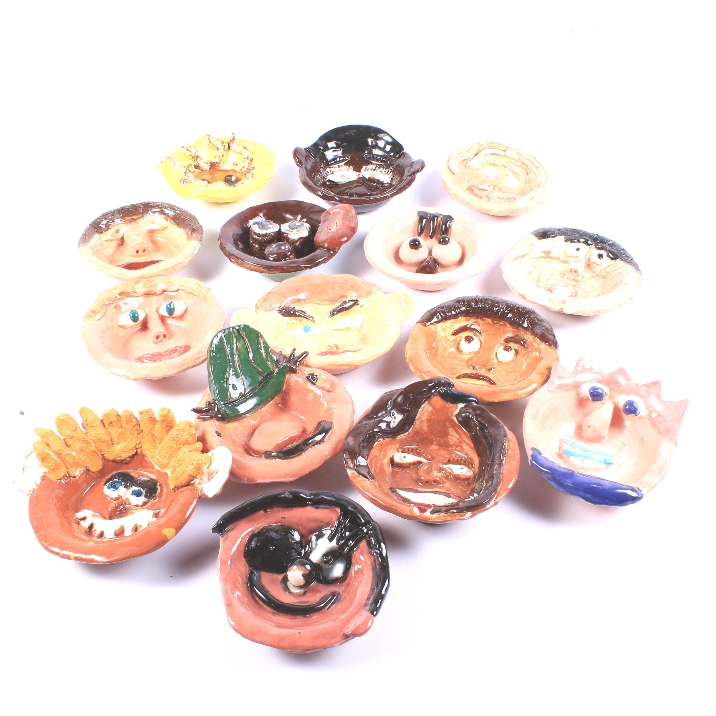 Hand Painted Folk Art Ceramic Face Bowls