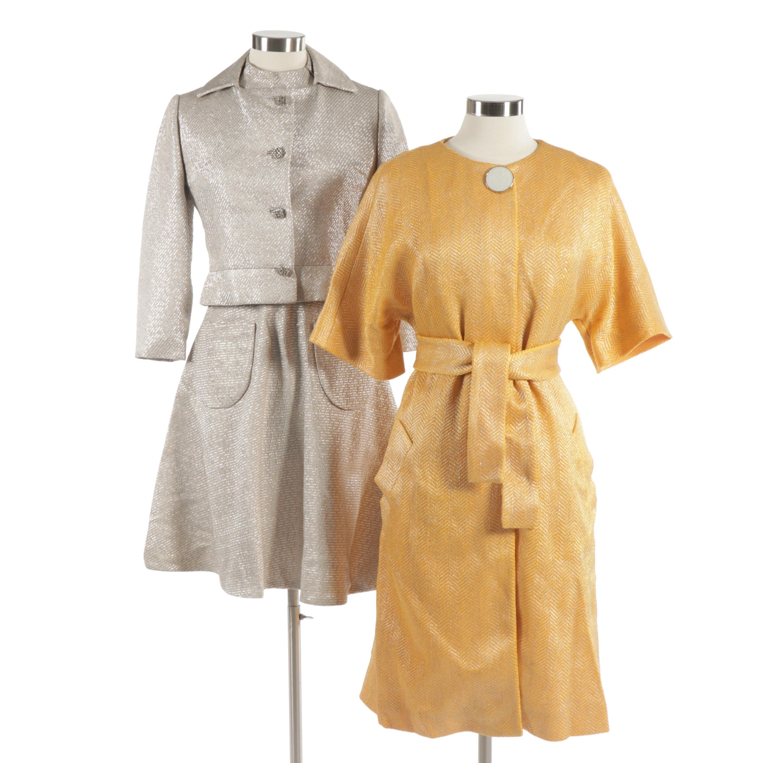 Brocaded Dress with Jacket and Coat, Mid-20th Century Vintage